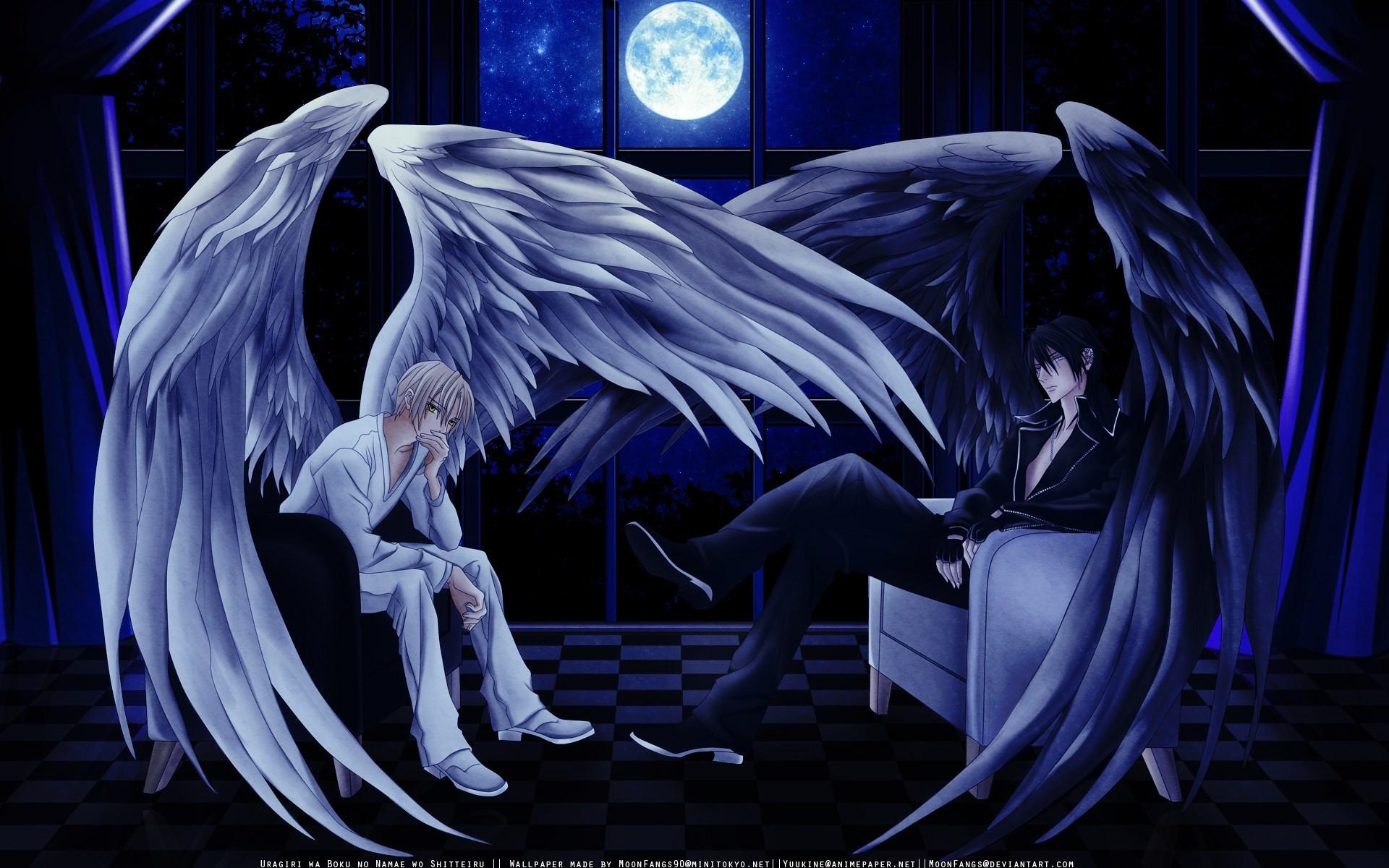 Hình ảnh thiên thần cánh trắng và cánh đen