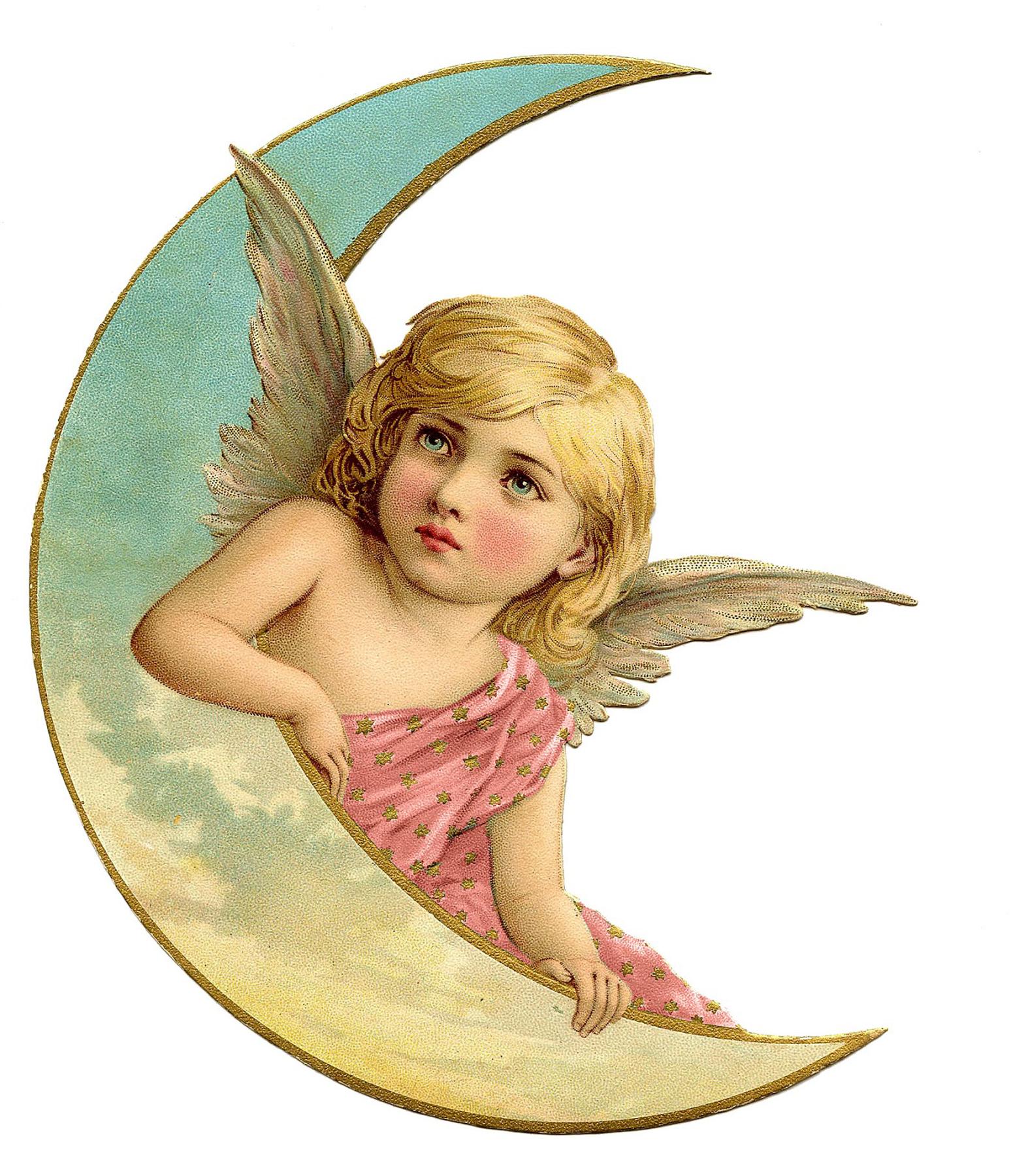 Hình ảnh thiên thần ôm vầng trăng