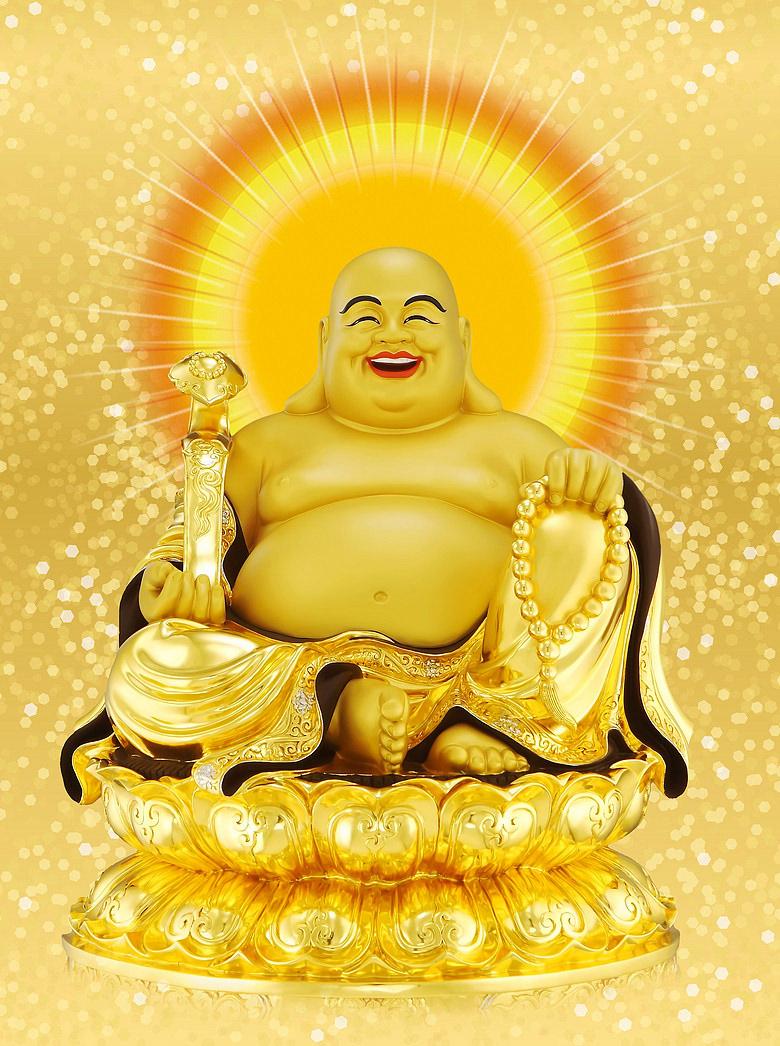 Hình ảnh tượng Phật Di Lặc tỏa sáng lấp lánh