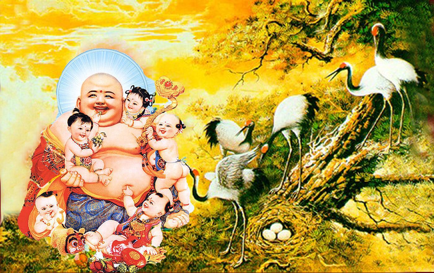 Hình ảnh tượng Phật Di Lặc và bầy hạc