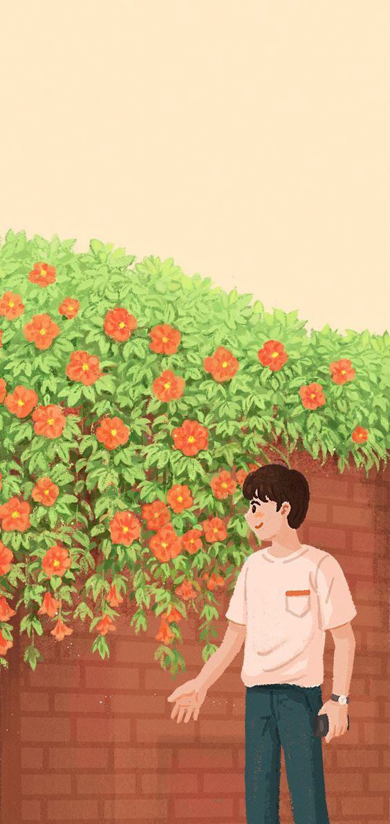 Hình nền điện thoại đôi bờ tường hoa 1