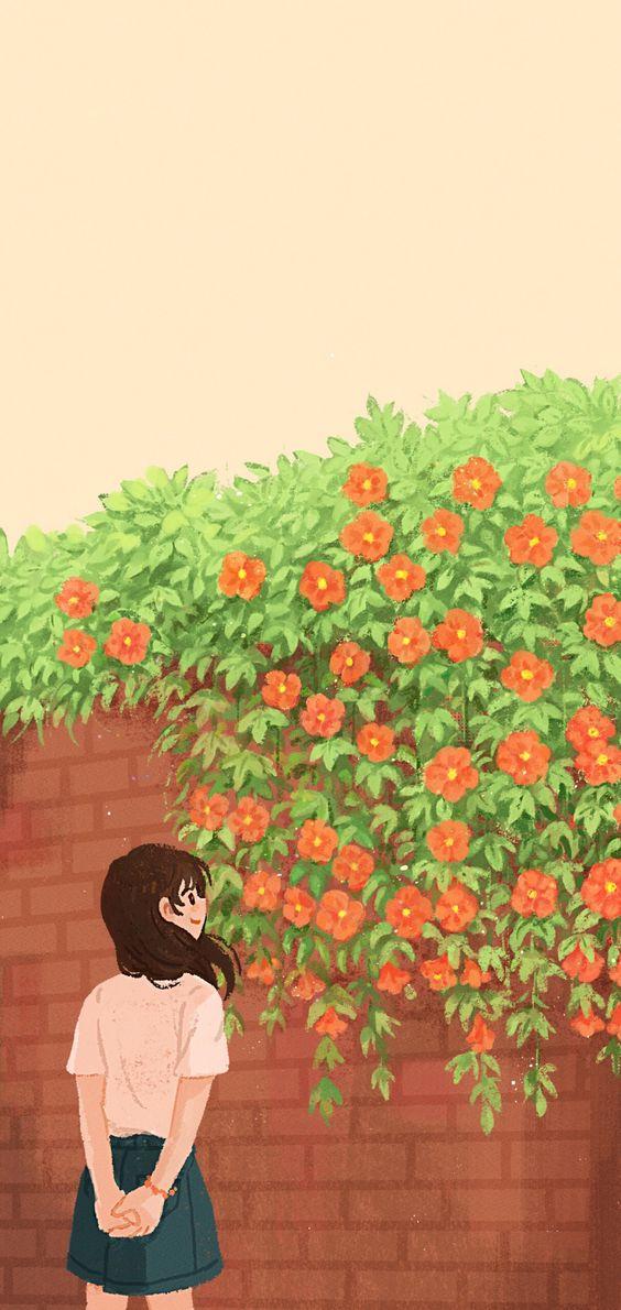 Hình nền điện thoại đôi bờ tường hoa 2