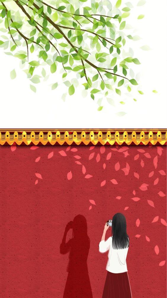 Hình nền diện thoại đôi cực đẹp bờ tường đỏ 2