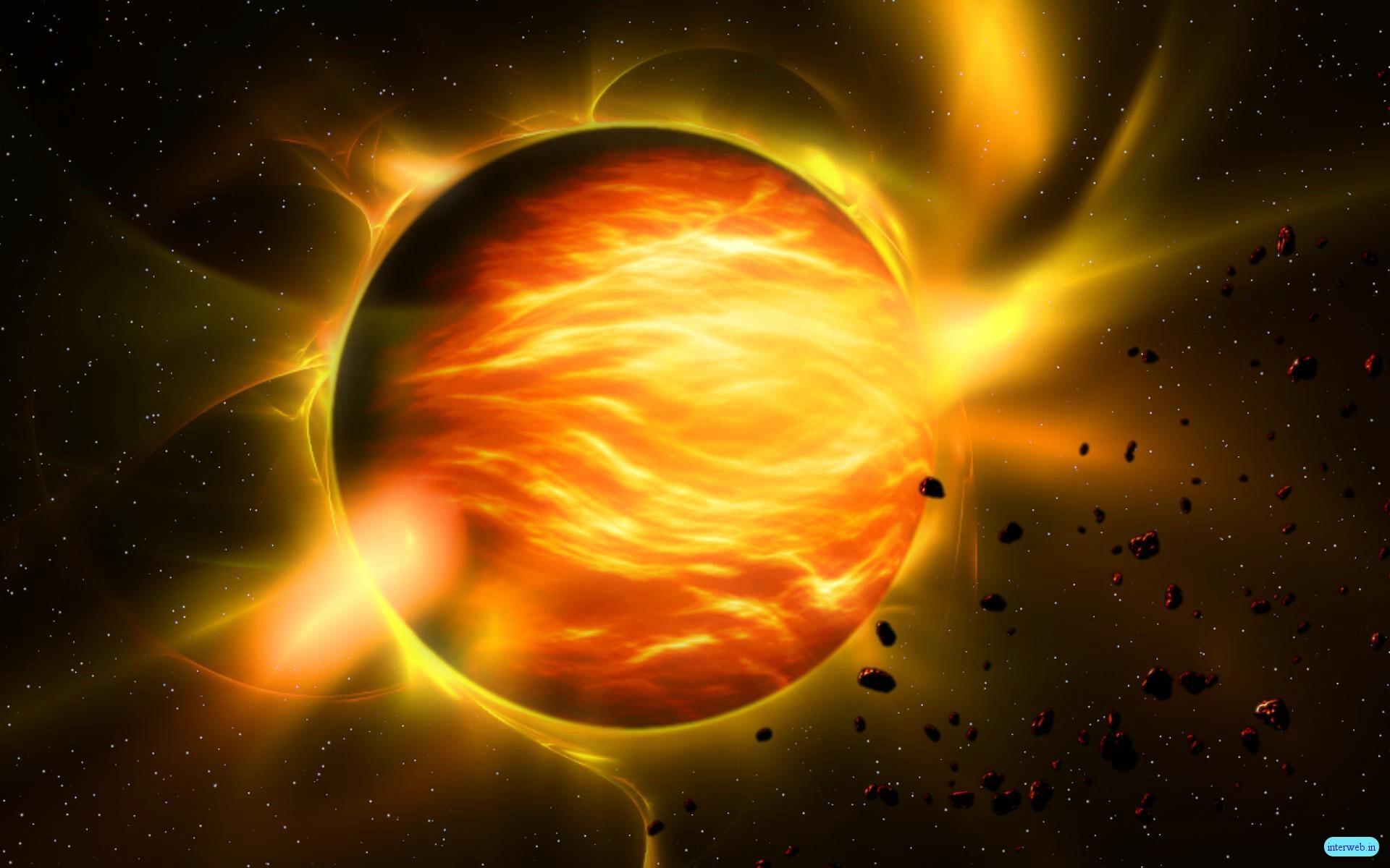 Hình nền màu vàng hành tinh tóe cực quang