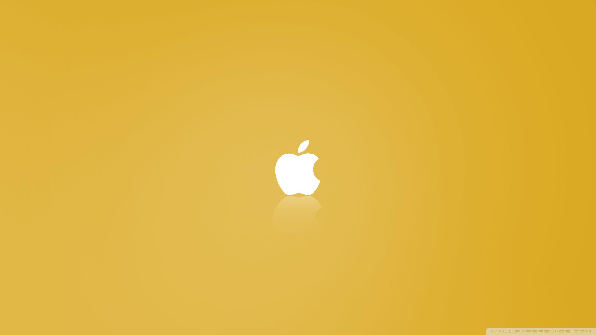 Hình nền màu vàng quả táo cắn dở