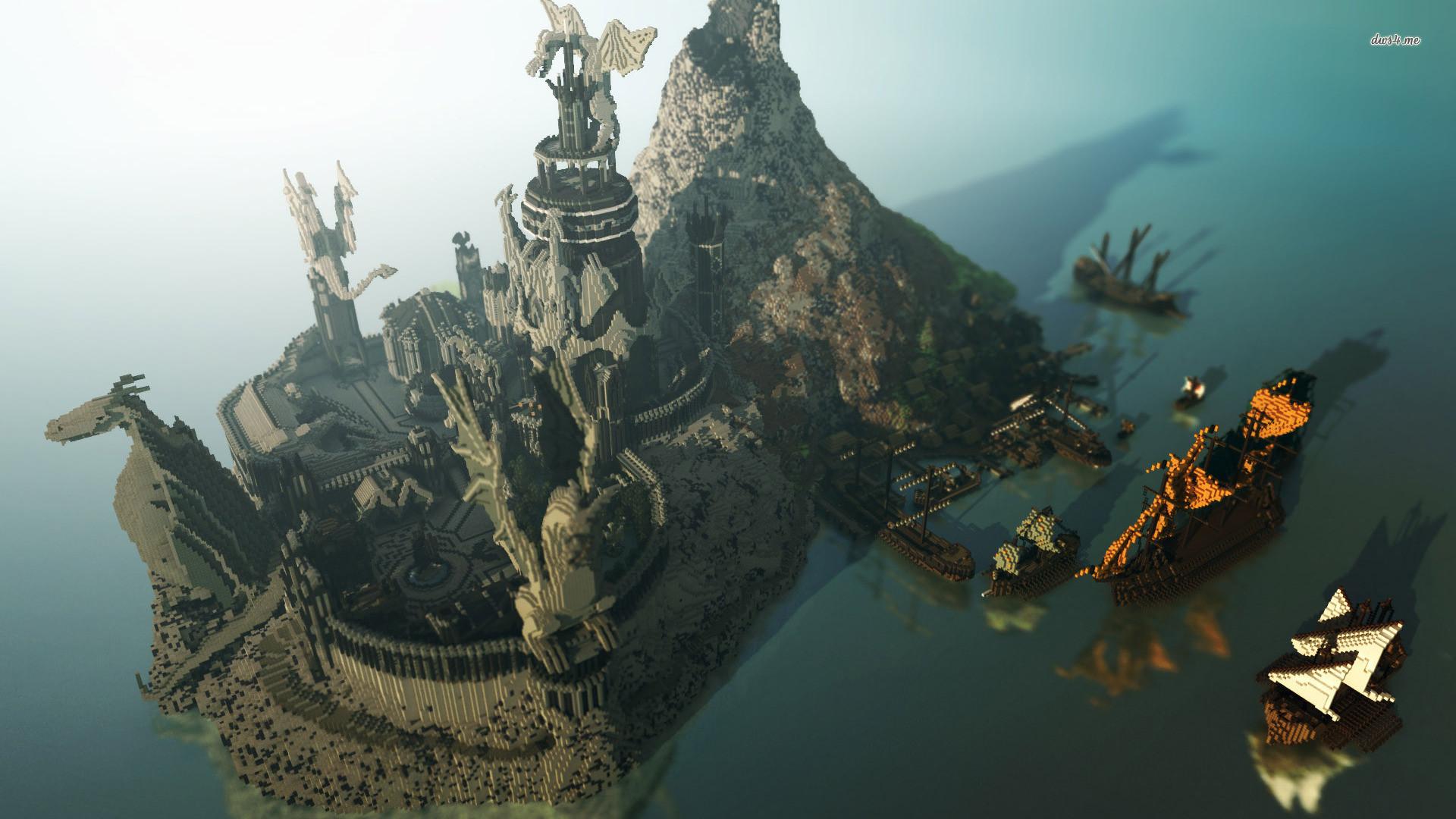 Hình nền Minecraft biển đảo biệt lập