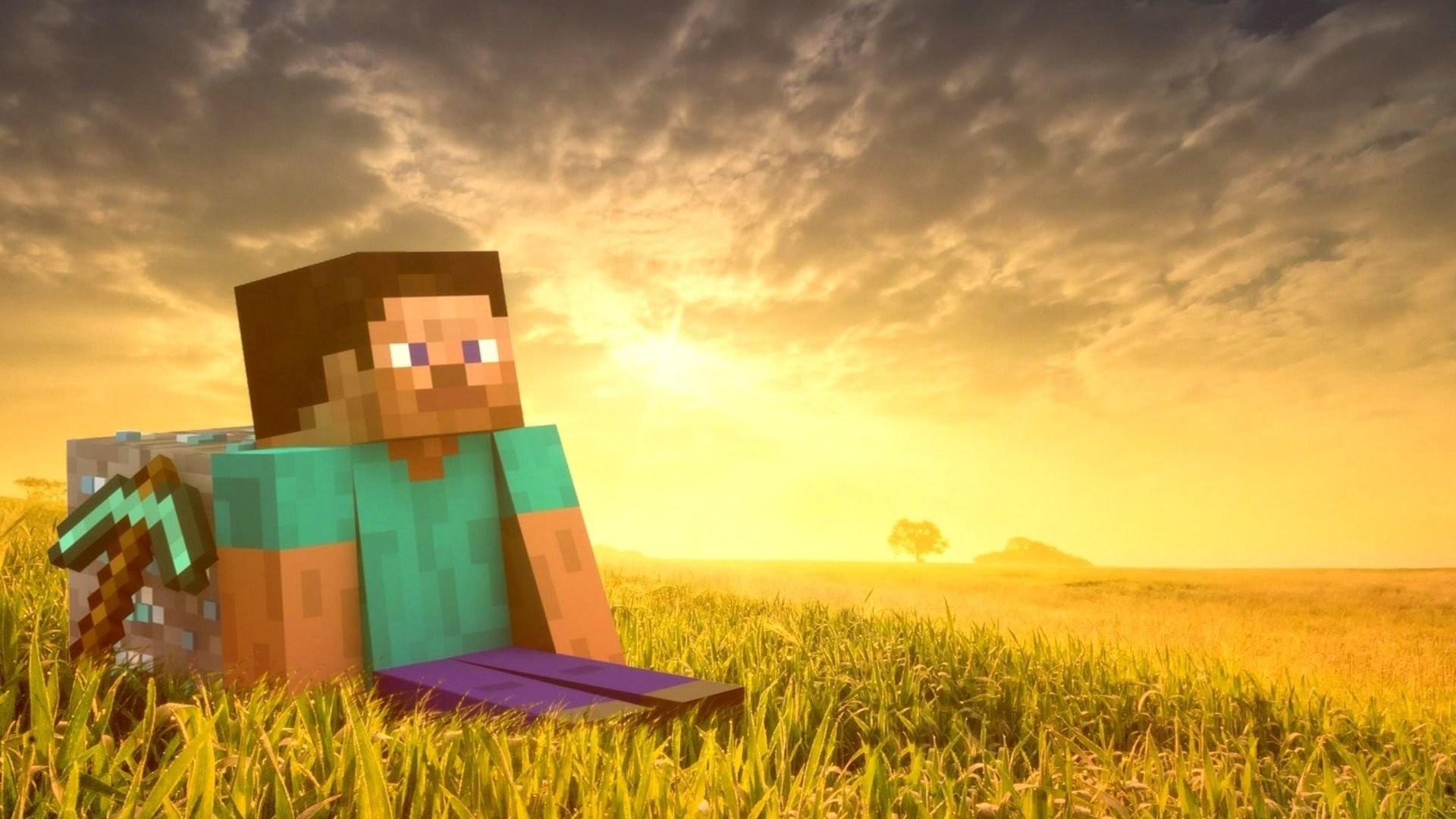 Hình nền Minecraft chiến binh ngồi trên đồng cỏ vàng
