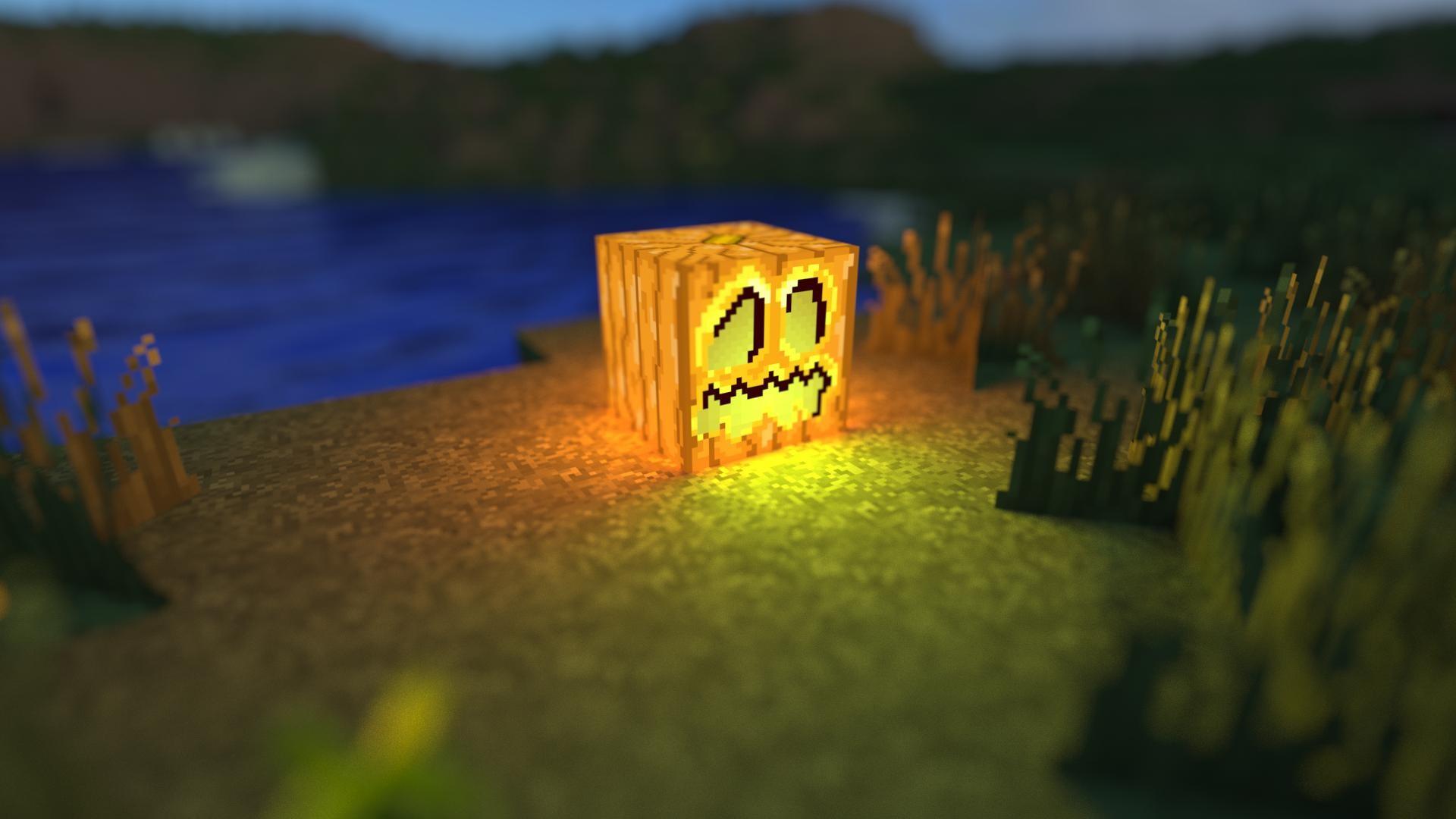 Hình nền Minecraft cực đẹp lồng đèn bí ngô