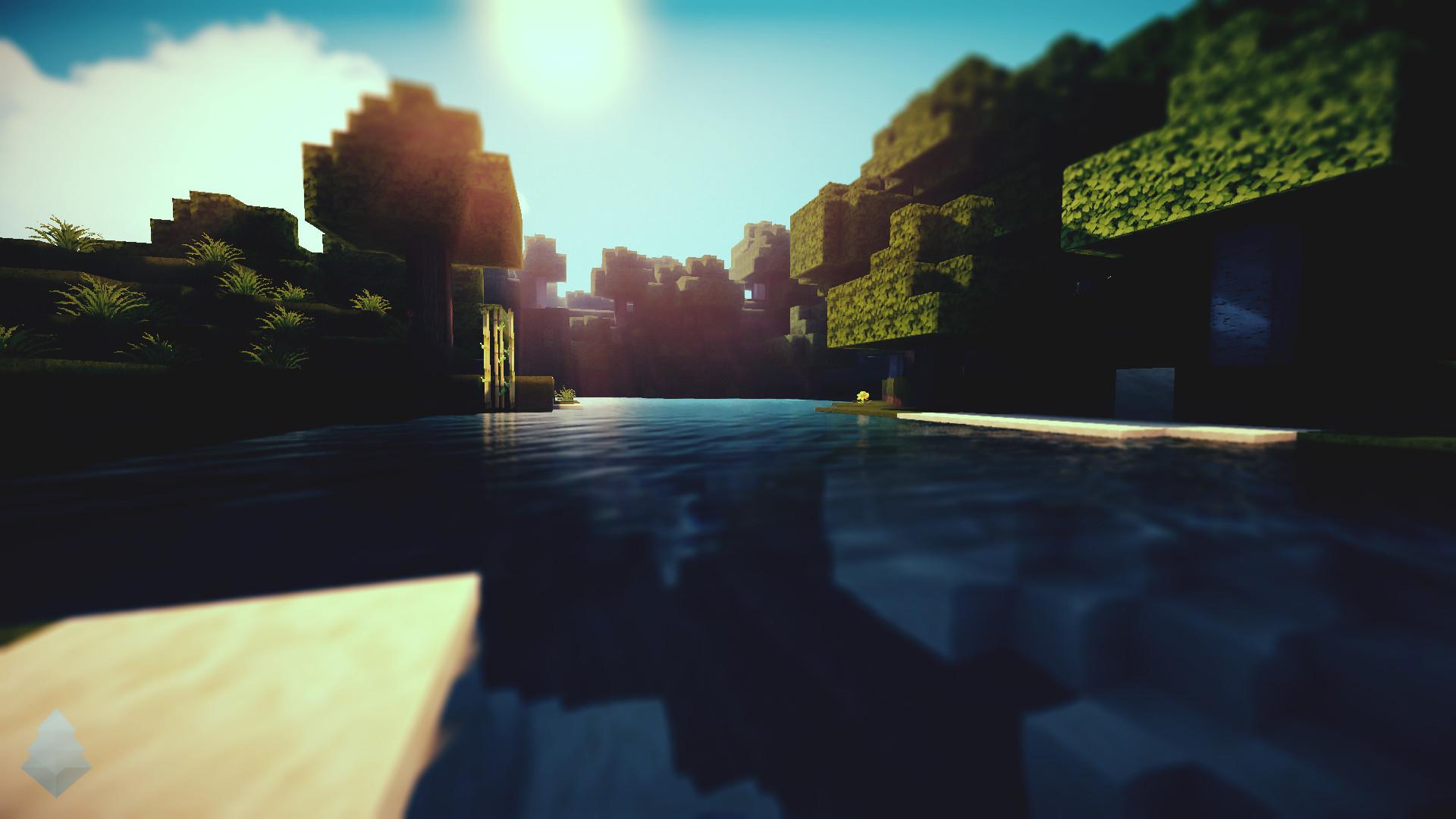 Hình nền Minecraft cực đẹp mặt nước trong