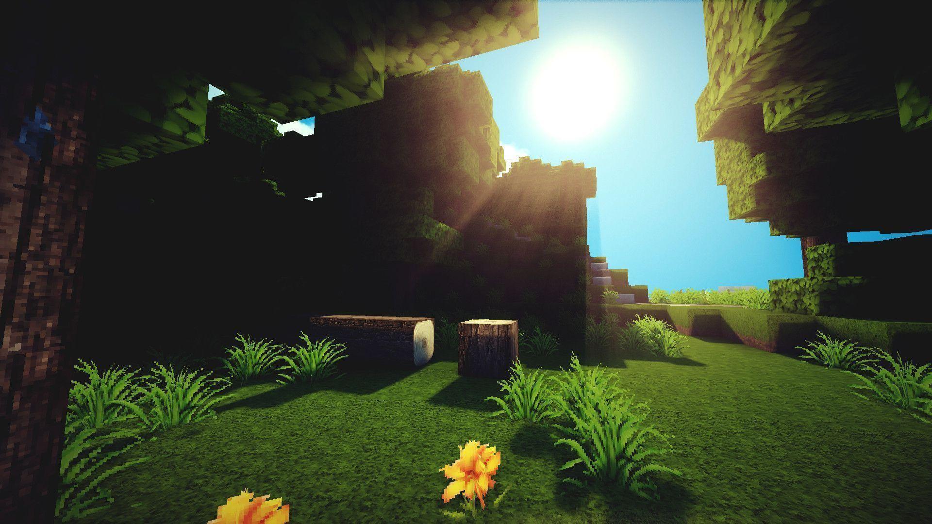 Hình nền Minecraft cực đẹp một góc vườn đầy nắng