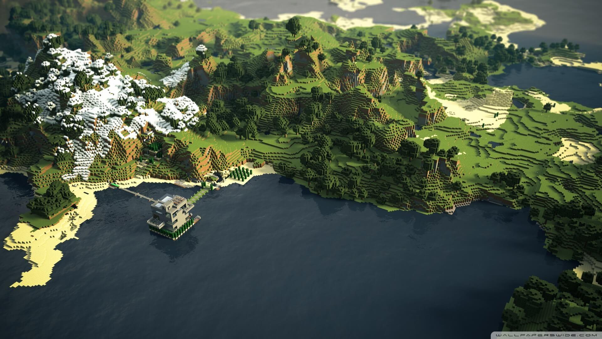 Hình nền Minecraft cực đẹp núi rừng bát ngát