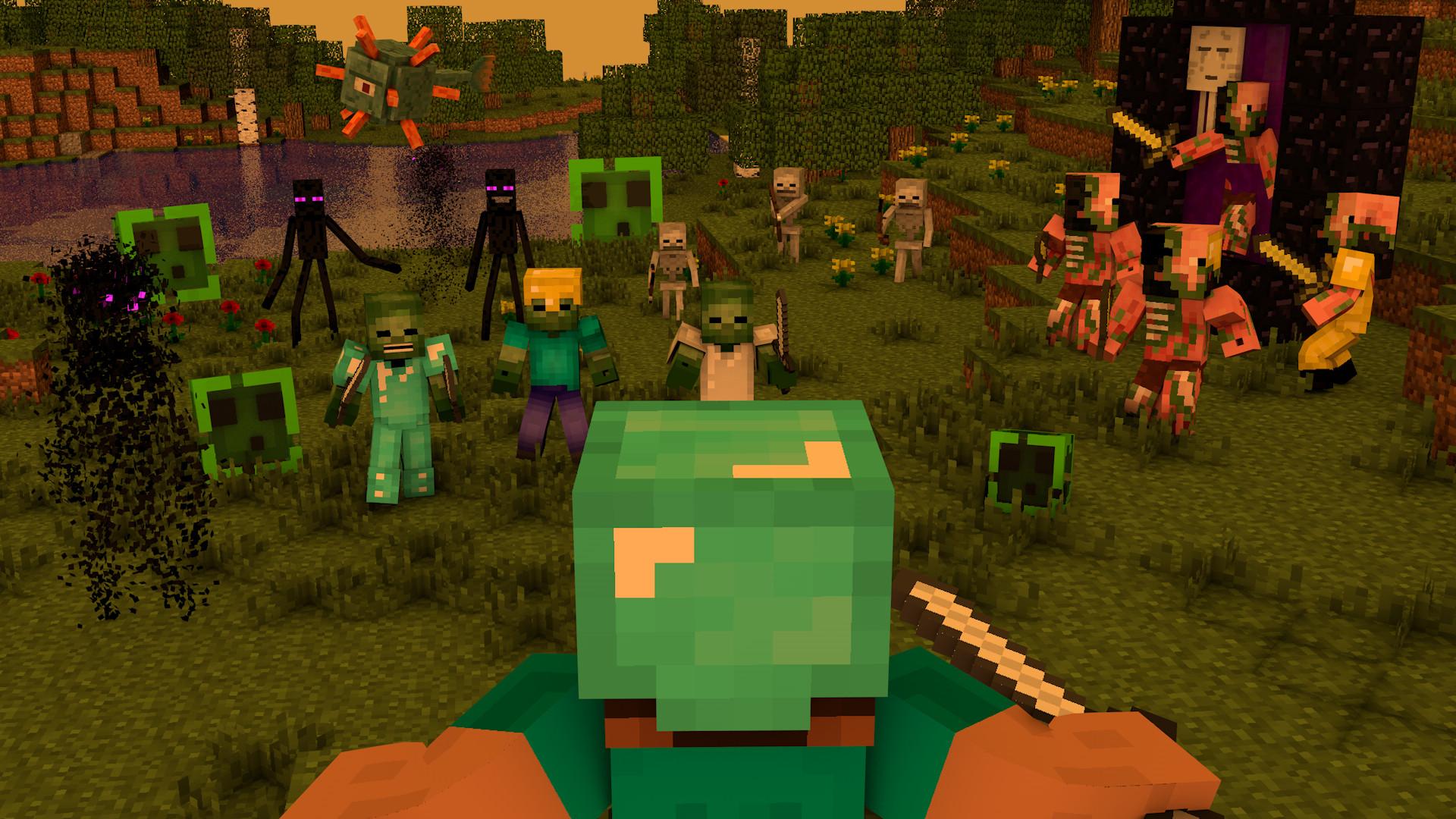 Hình nền Minecraft cuộc chiến chống lại zombie