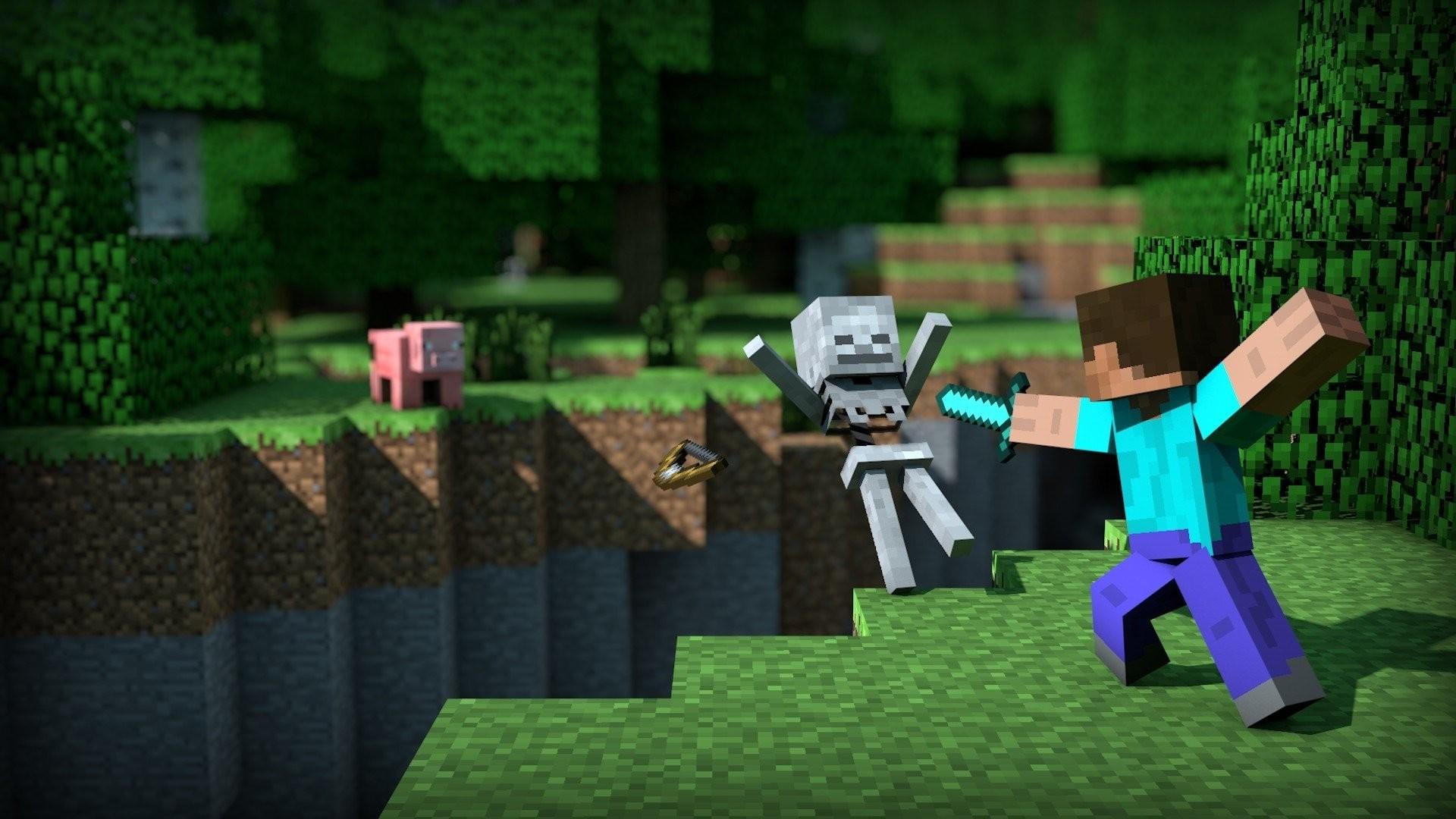 Hình nền Minecraft cuộc chiến mép vực cực đẹp