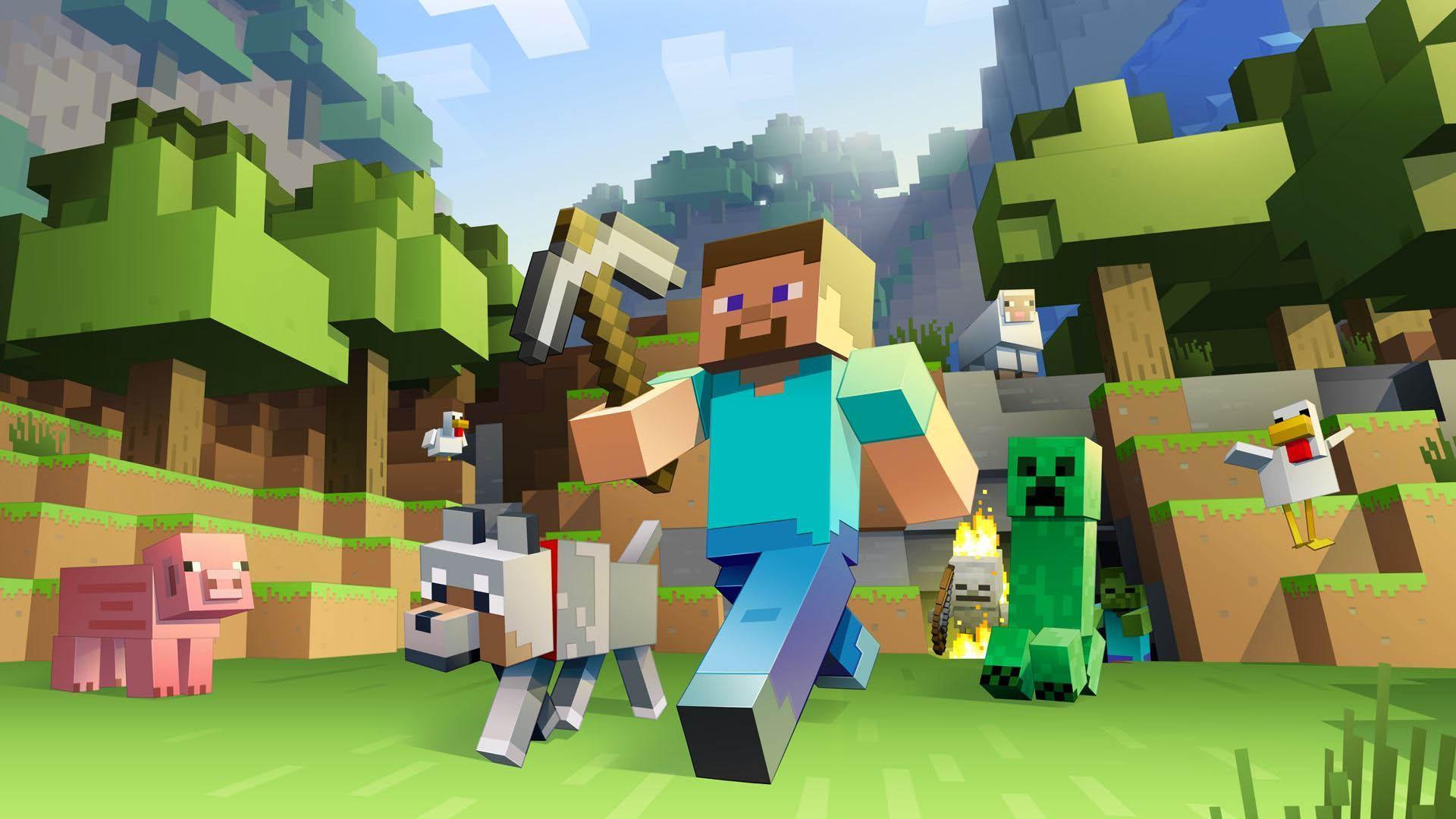 Hình nền Minecraft đẹp nhân vật có râu và chú chó