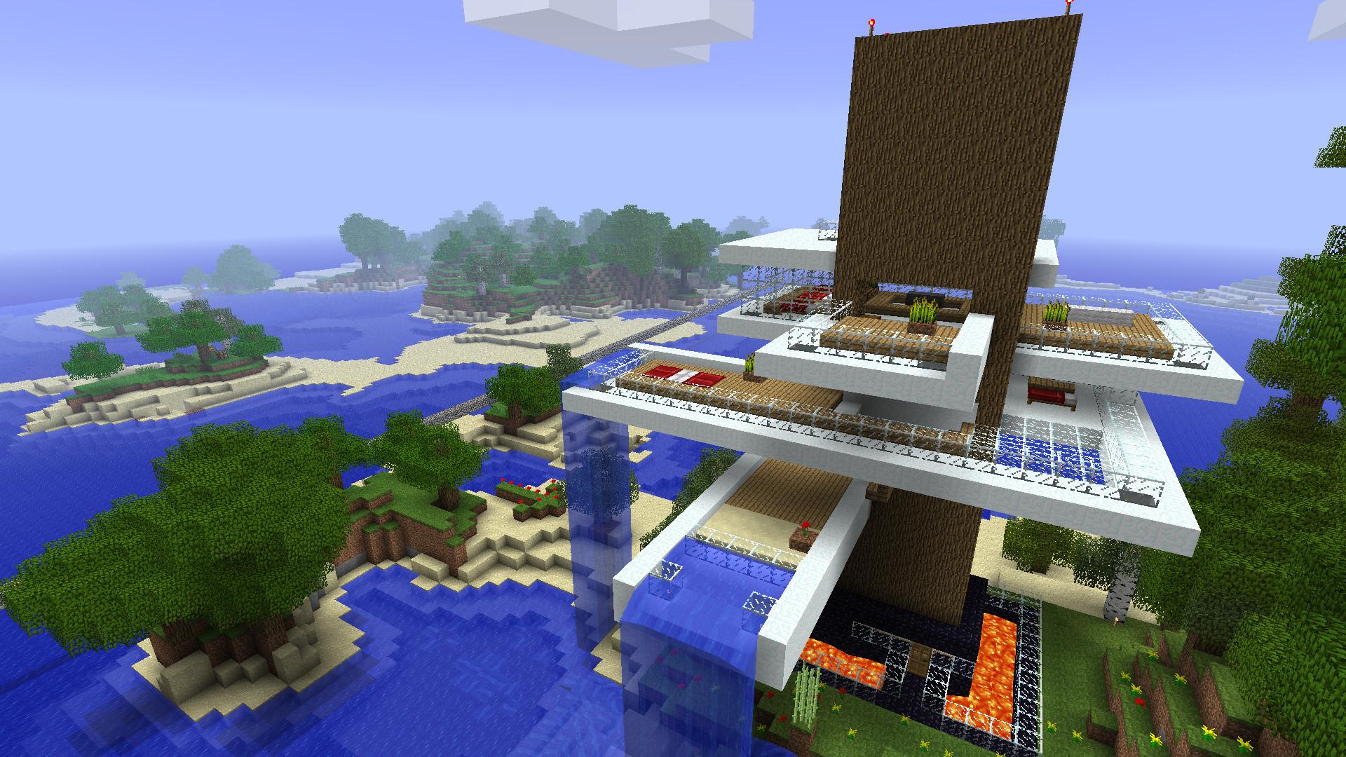 Hình nền Minecraft khu nghỉ dưỡng biển xanh