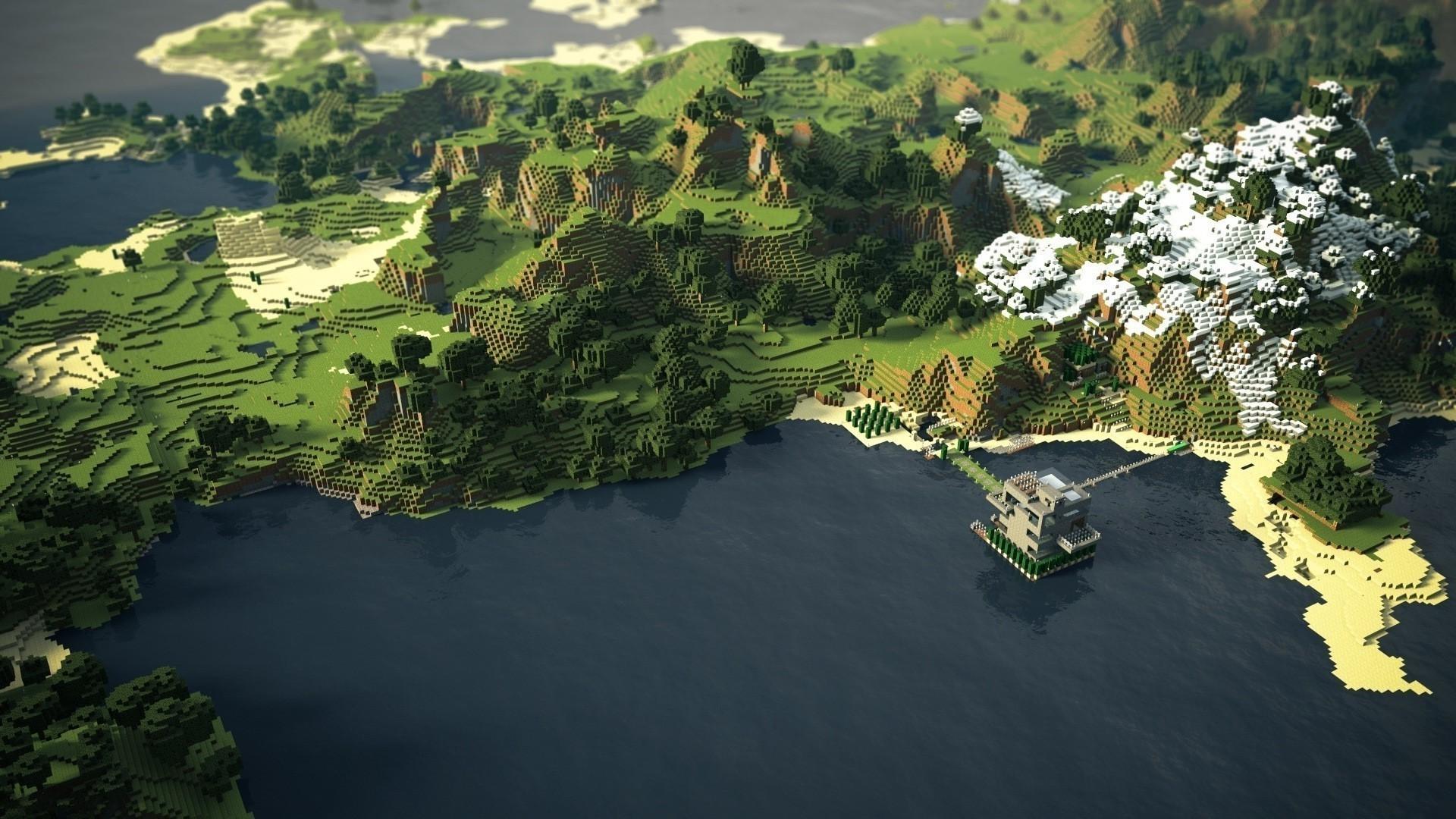 Hình nền Minecraft khung cảnh tuyệt đẹp nhìn từ trên cao