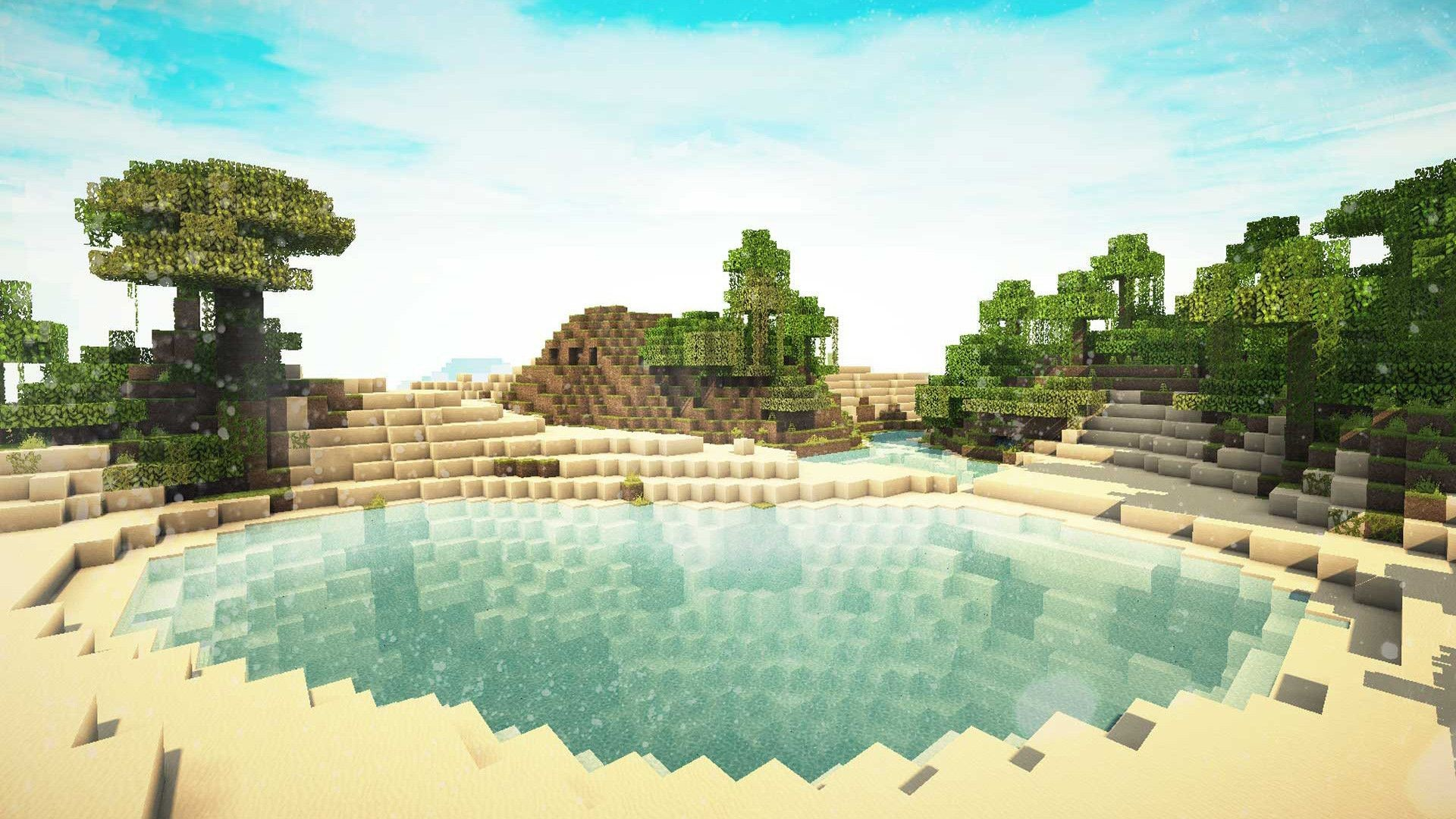 Hình nền Minecraft khung nghỉ mát trong xanh