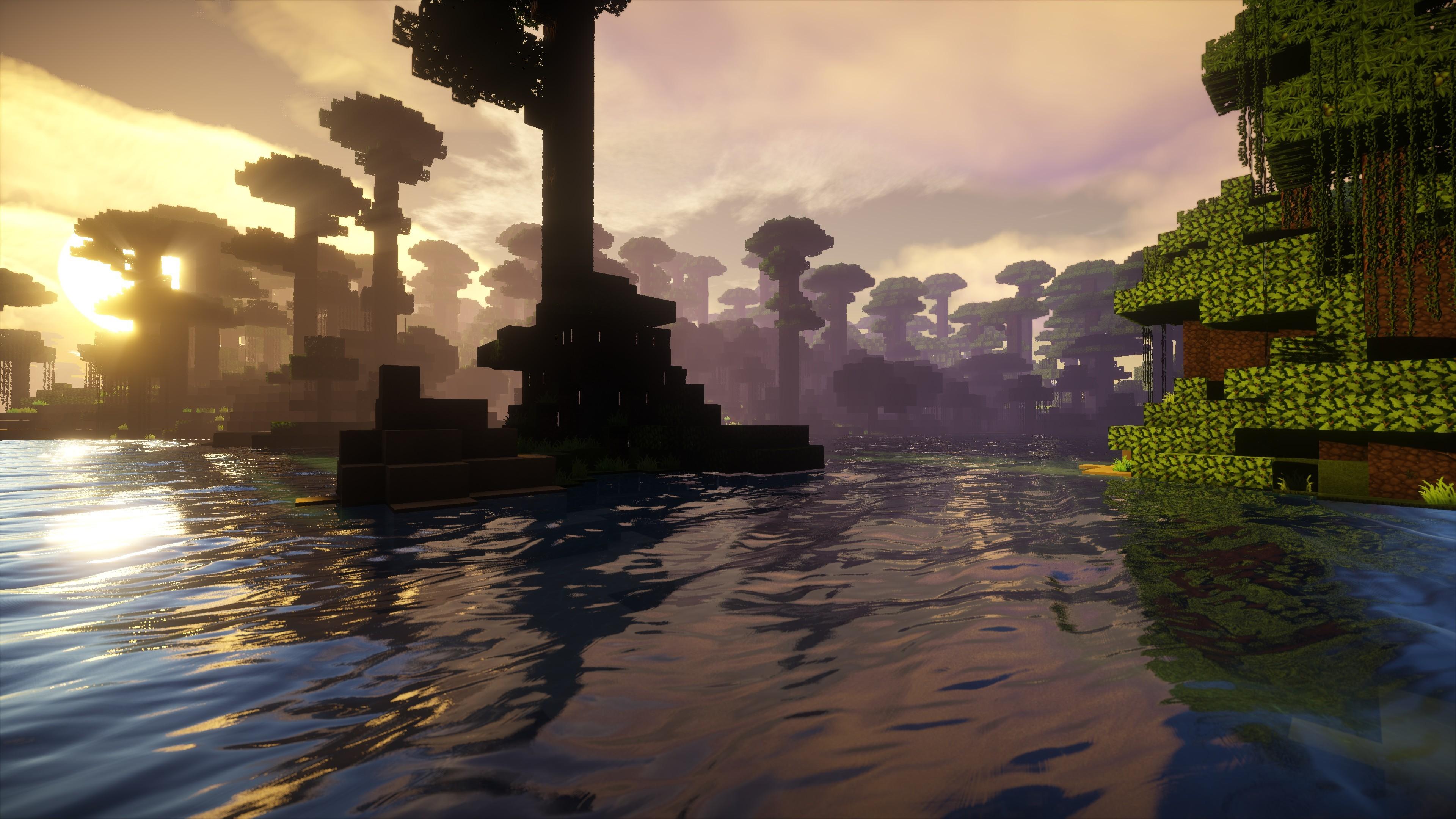 Hình nền Minecraft mặt nước hoàng hôn