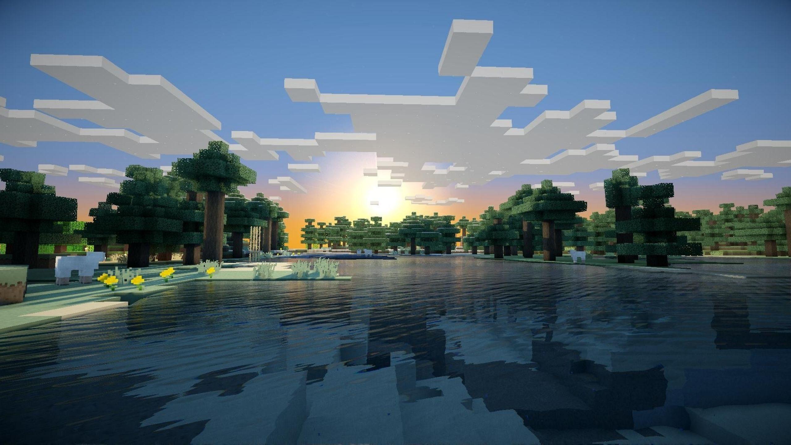 Hình nền Minecraft mặt nước trong và bầu trời