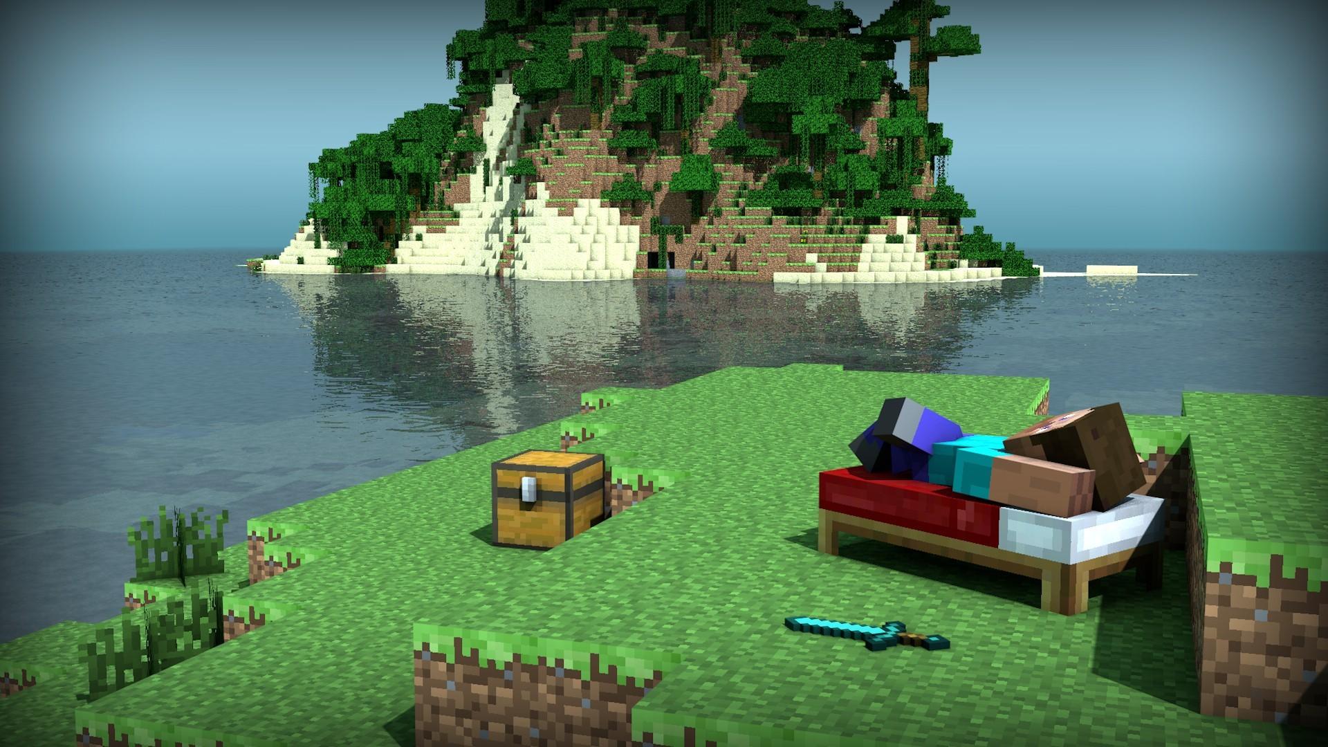 Hình nền Minecraft một góc biển đảo cực đẹp