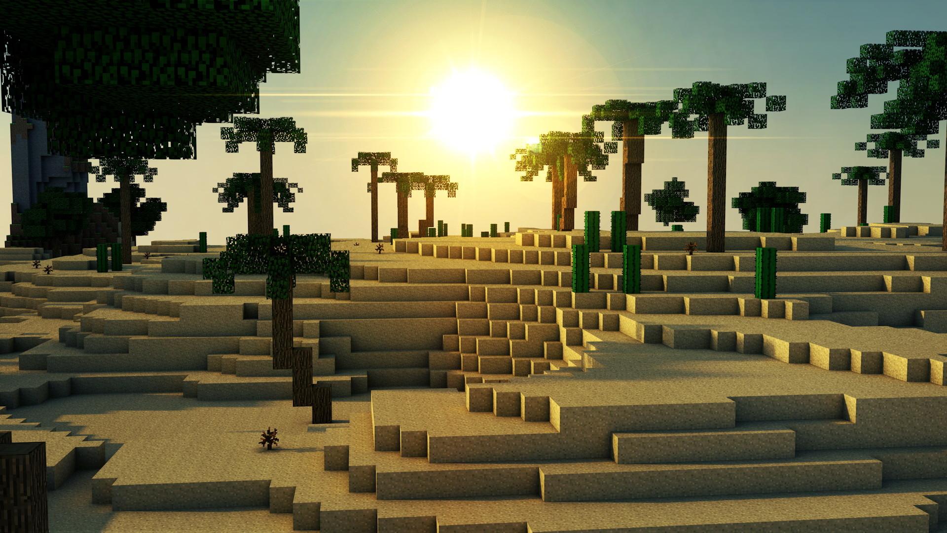 Hình nền Minecraft nắng chiếu vàng rực