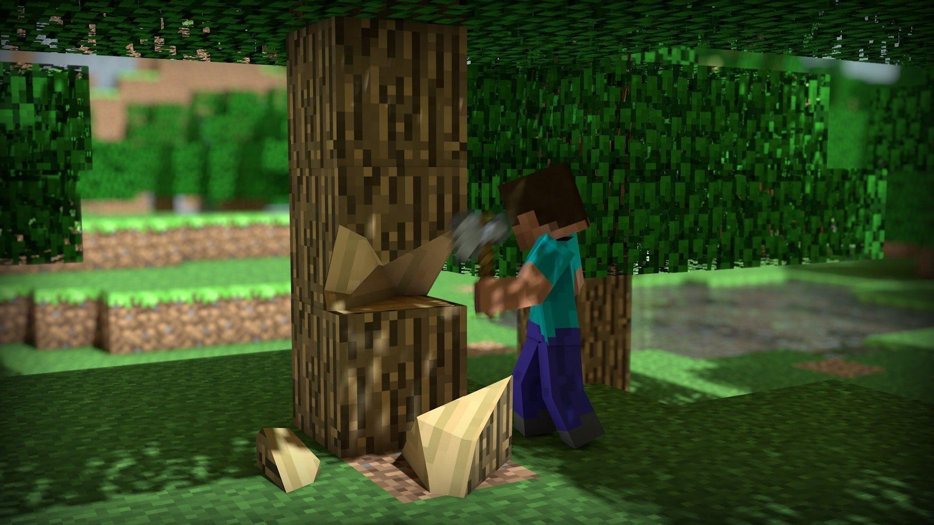 Hình nền Minecraft người chặt cây