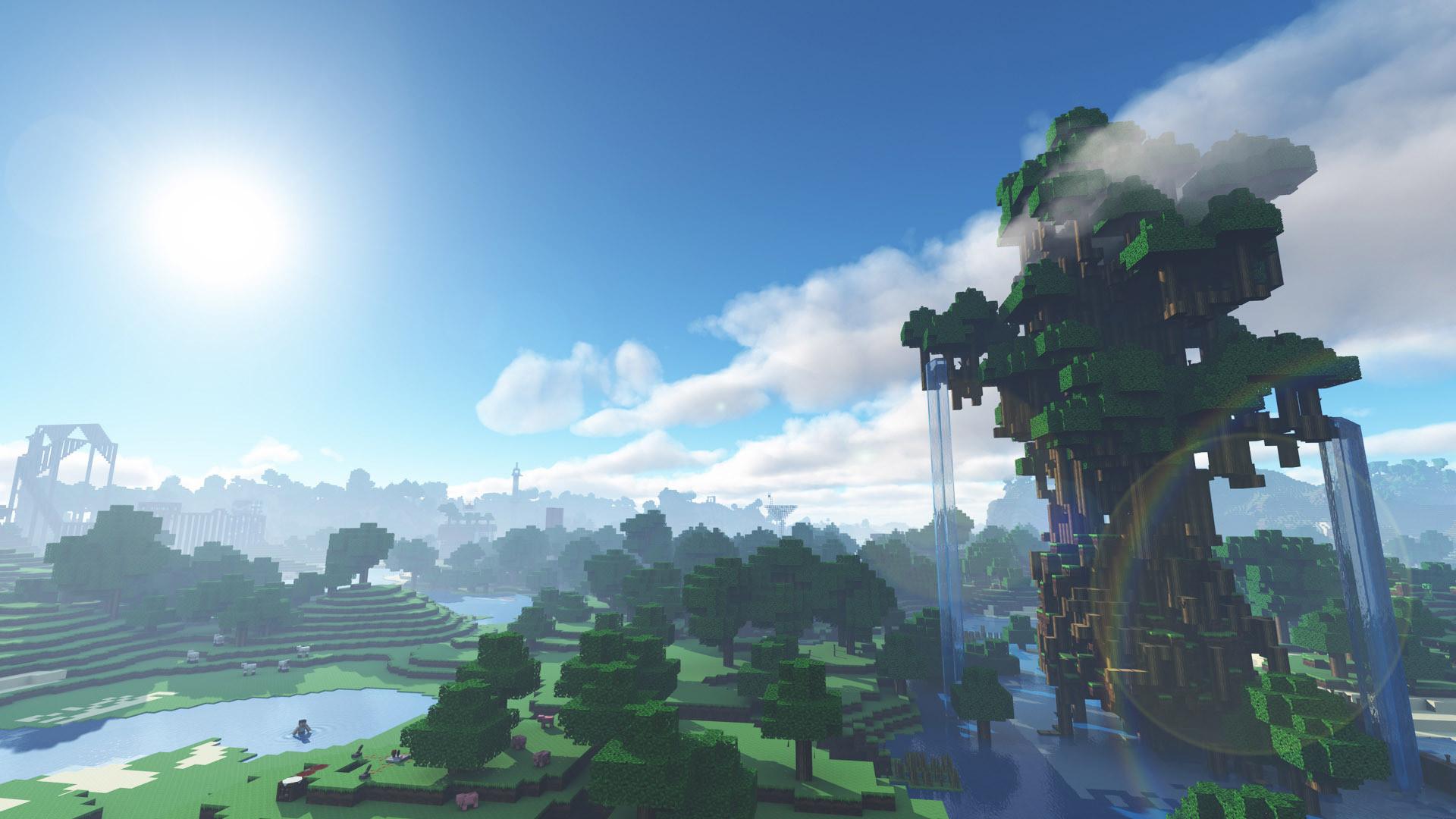 Hình nền Minecraft núi cây thác chảy cực đẹp