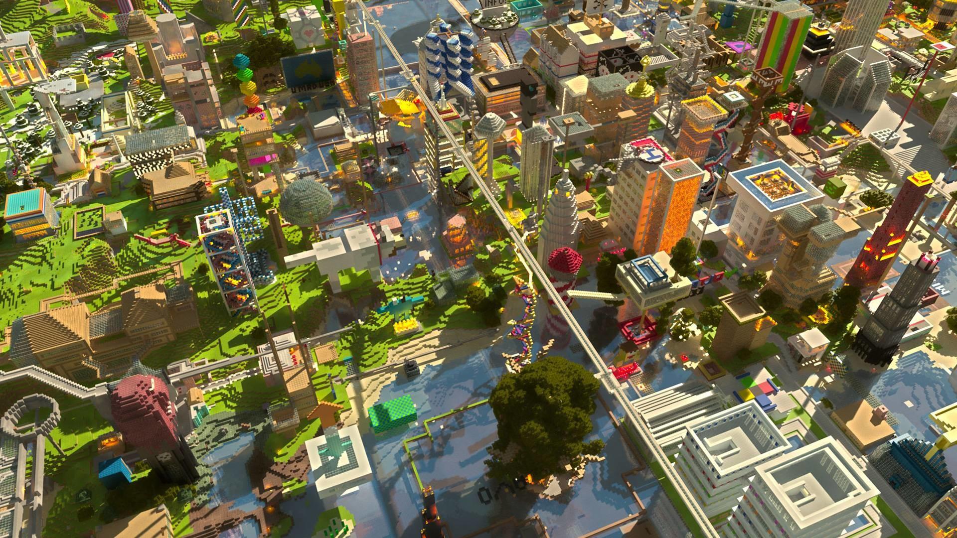 Hình nền Minecraft thành phố hiện đại