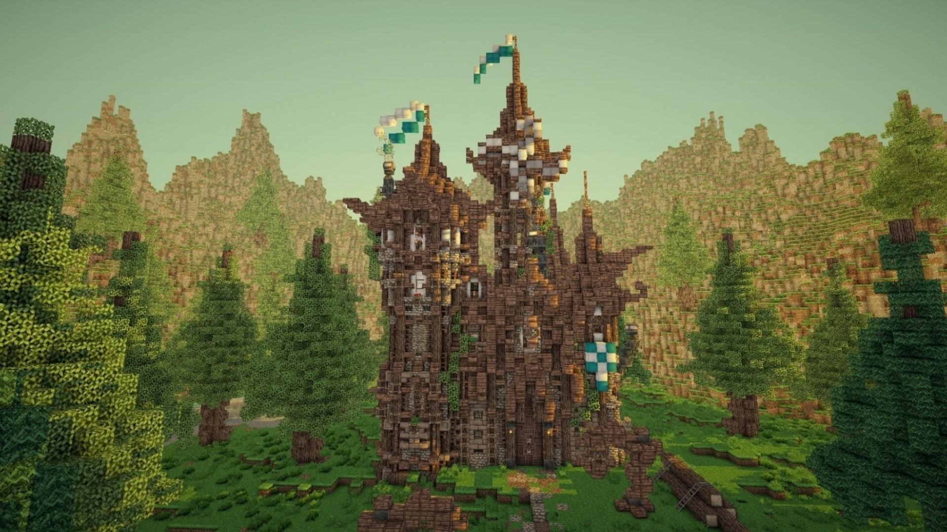 Hình nền Minecraft tòa nhà cao lớn
