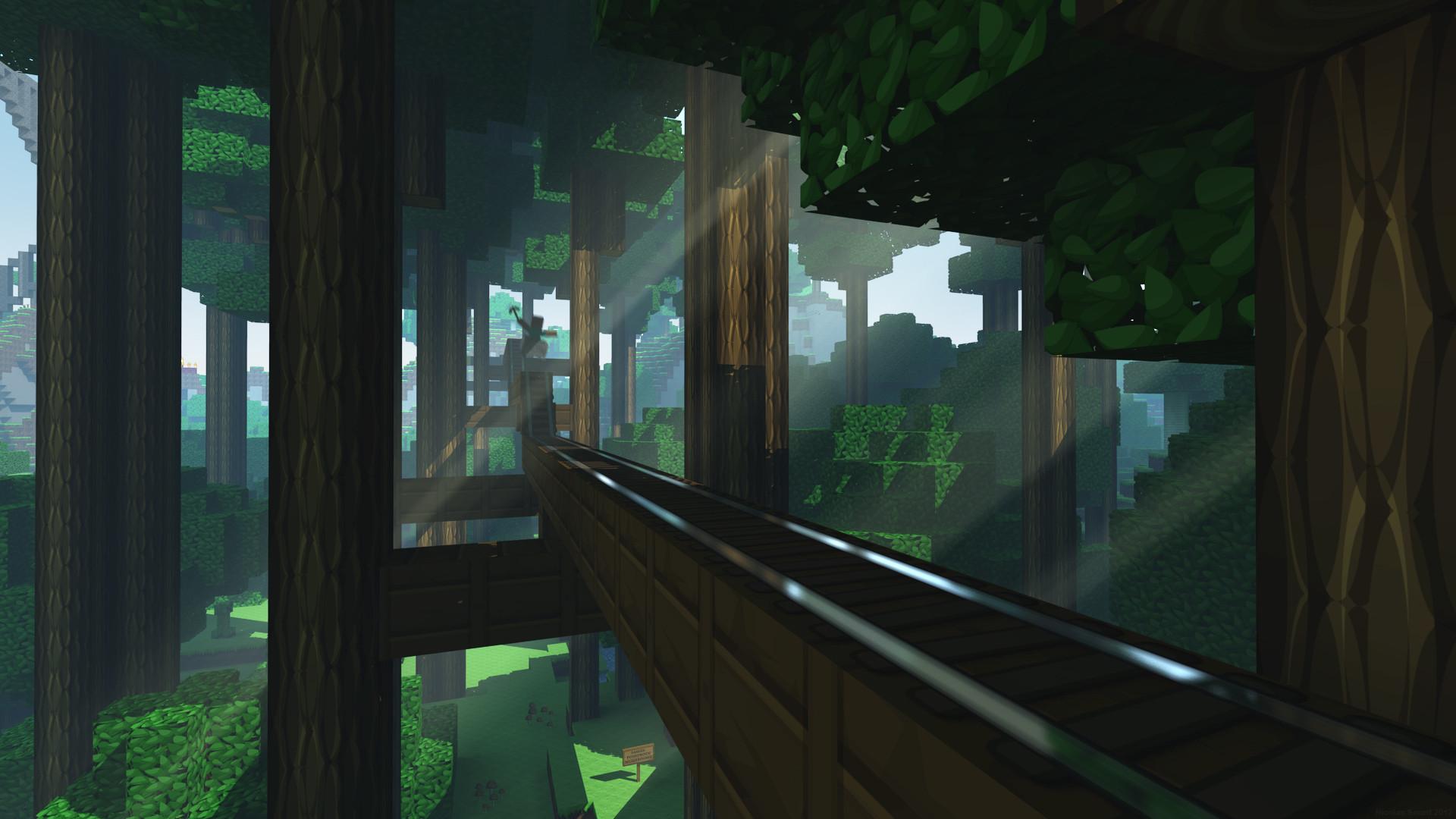 Hình nền Minecraft trong rừng cây râm bóng