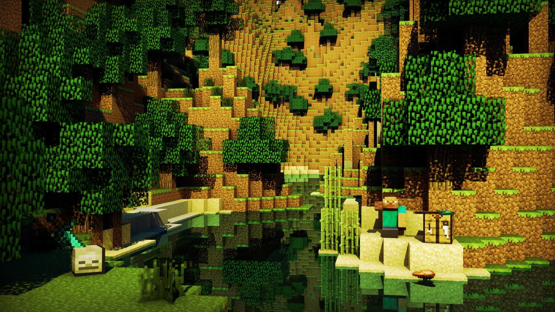 Hình nền Minecraft vách đá mặt nước trong