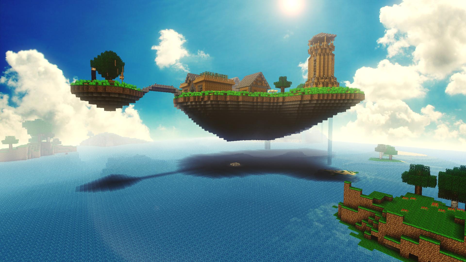 Hình nền Minecraft vùng đất bay