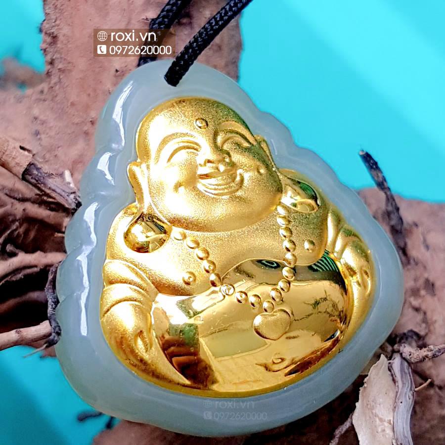 Ngọc Phật Di Lặc dát vàng