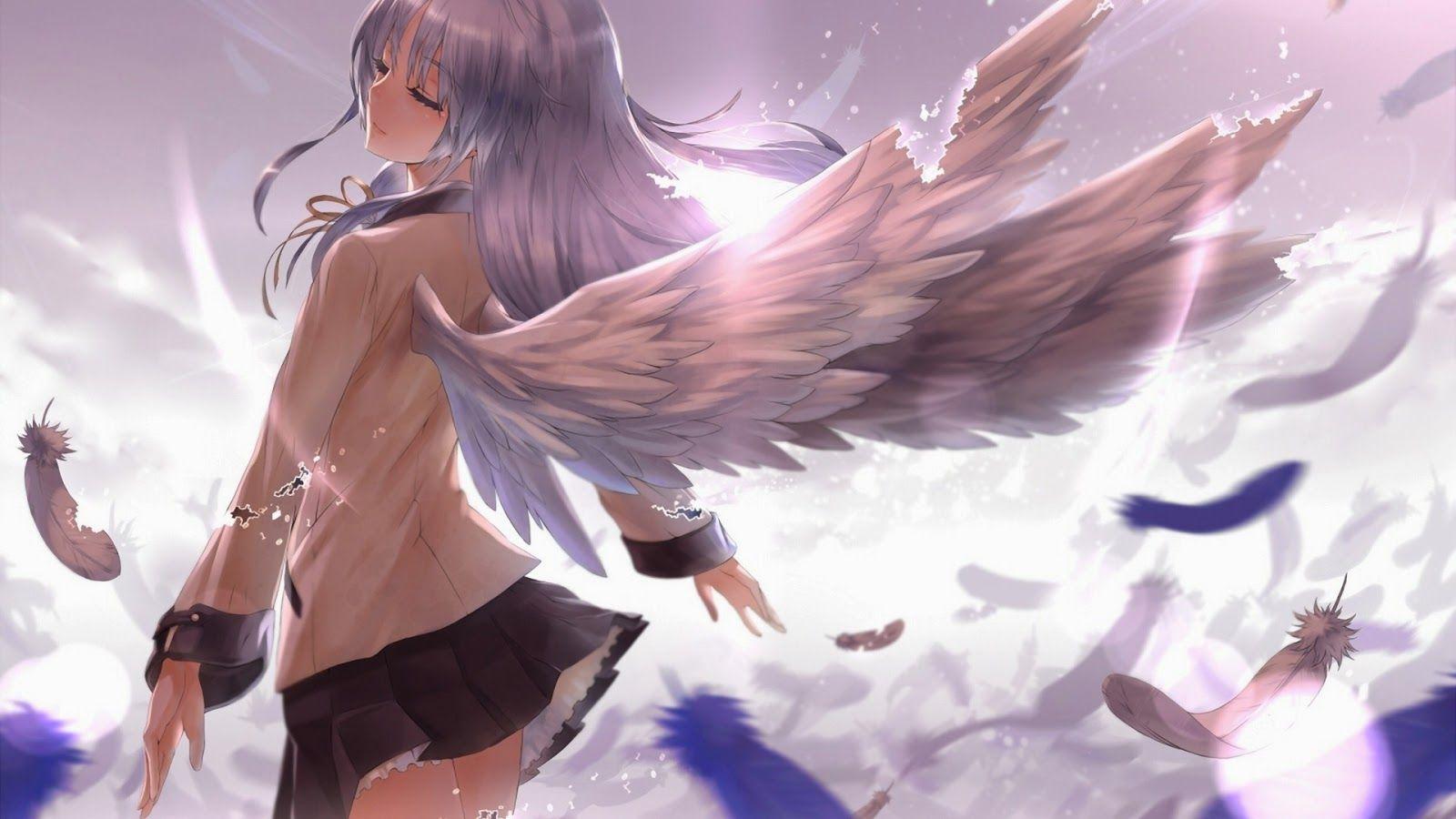 Tranh anime đẹp thiên thần cánh trắng