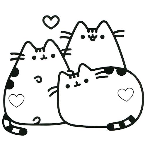 Tranh tô màu ba chú mèo Pusshen đứng cạnh nhau