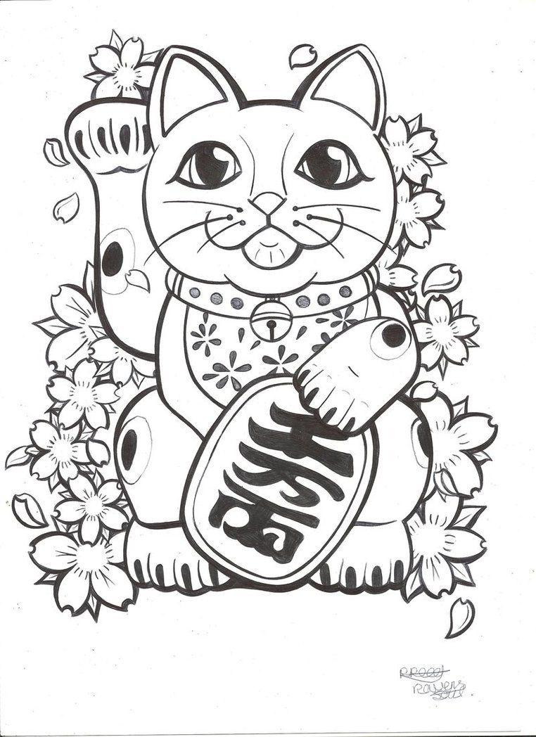 Tranh tô màu chú mèo chiêu tài cực xinh đẹp
