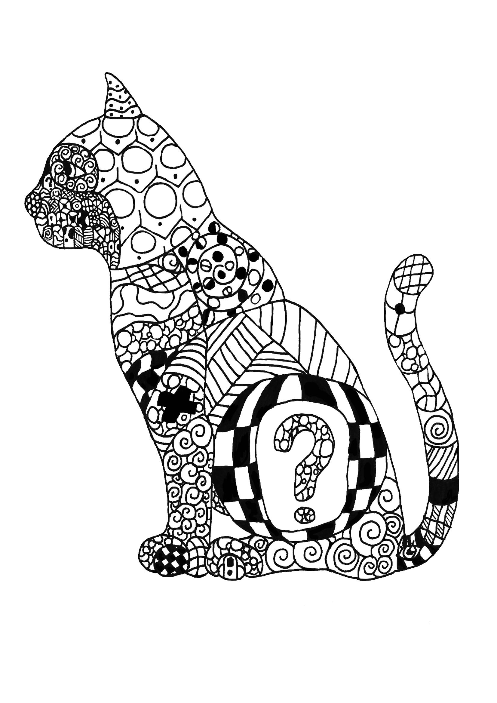 Tranh tô màu chú mèo cùng những họa tiết đặc biệt