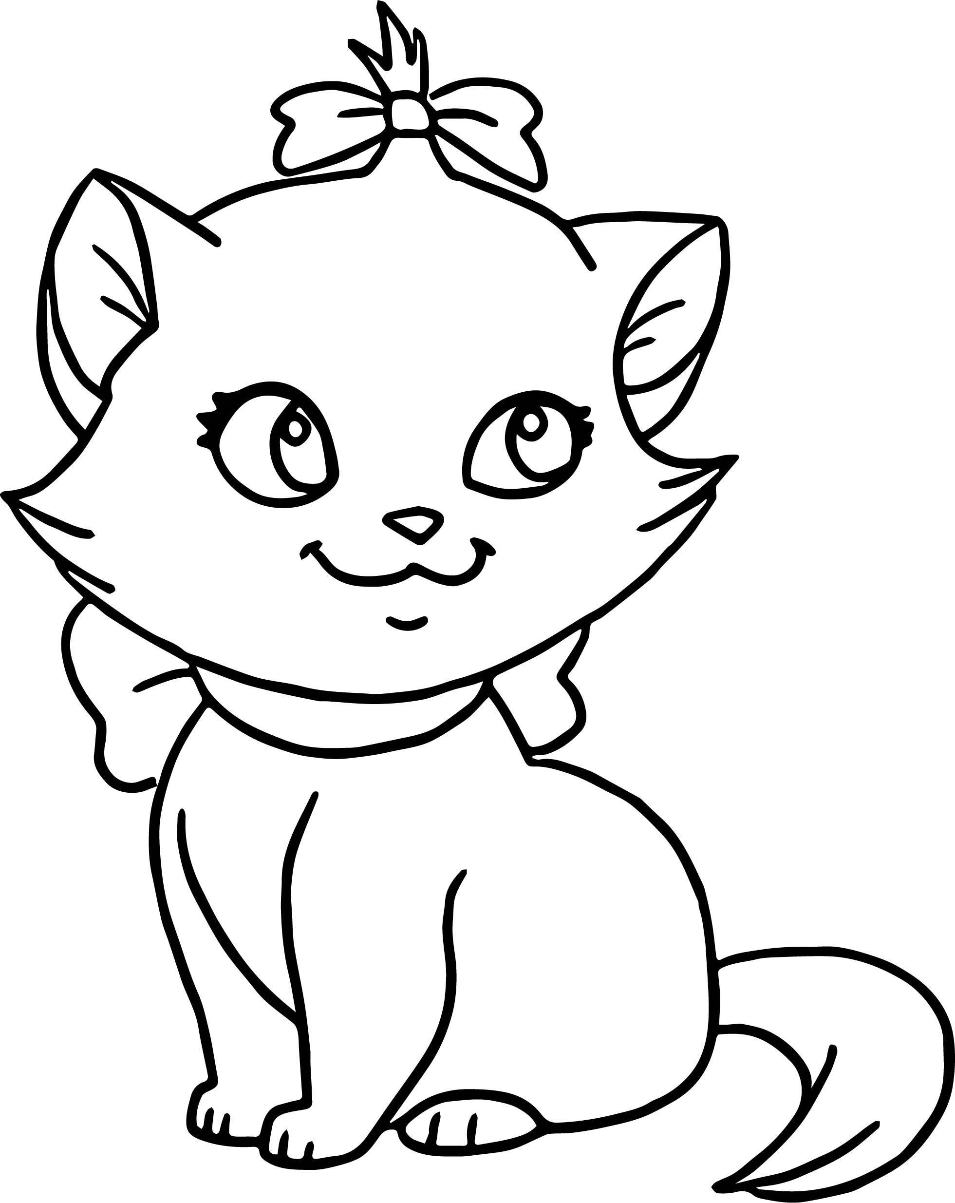 Tranh tô màu chú mèo đáng yêu buộc túm tóc nơ