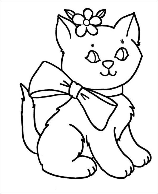 Tranh tô màu chú mèo đáng yêu cài hoa trên tai