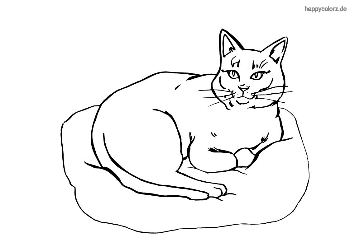 Tranh tô màu chú mèo nằm trên đệm