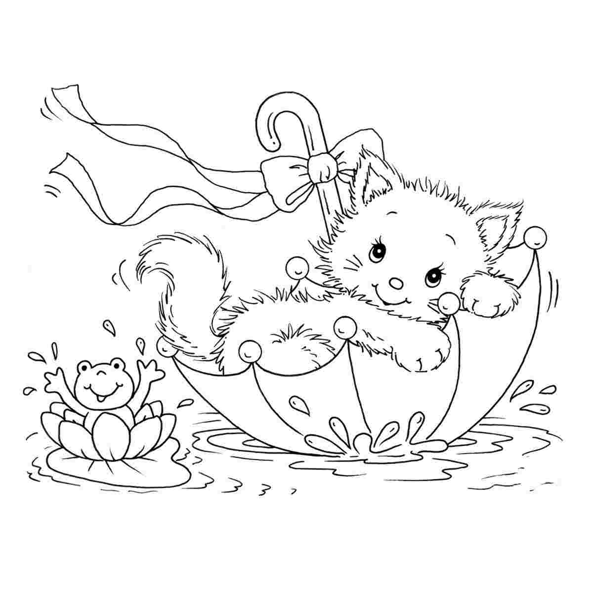Tranh tô màu chú mèo nằm trong lòng ô