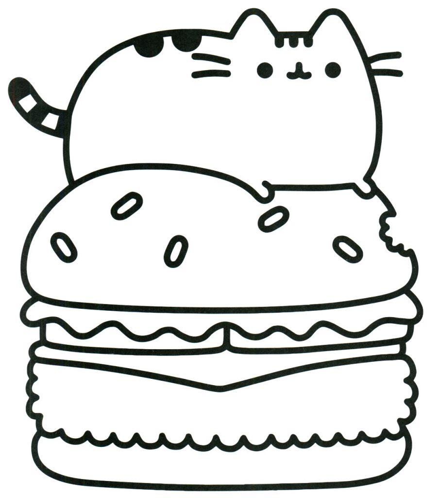 Tranh tô màu chú mèo Pusshen nằm trên bàn thức ăn cực đẹp