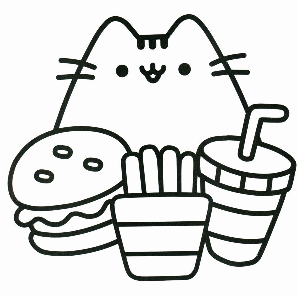 Tranh tô màu chú mèo Pusshen và mấy món ăn