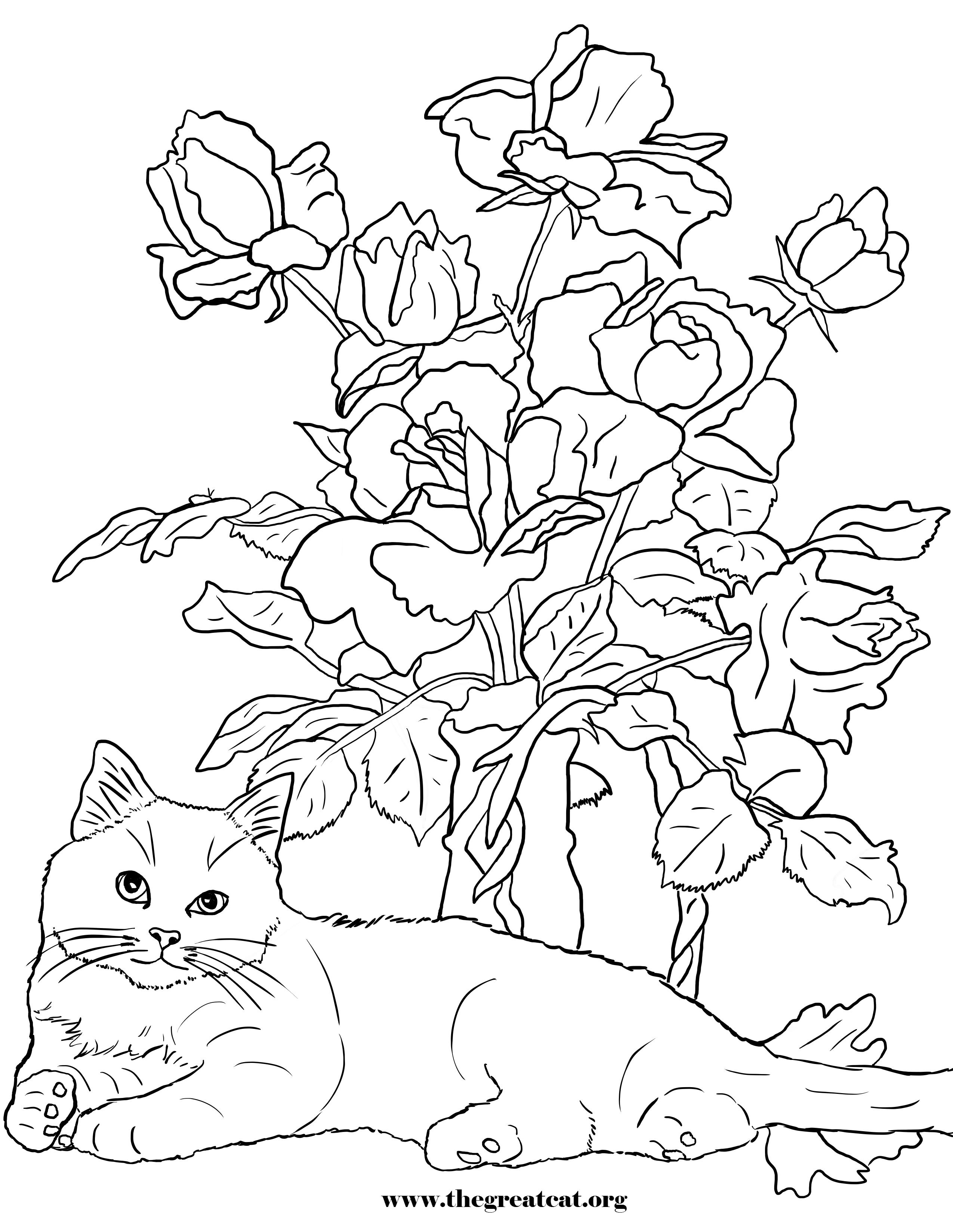 Tranh tô màu chú mèo và cây hoa cực đẹp
