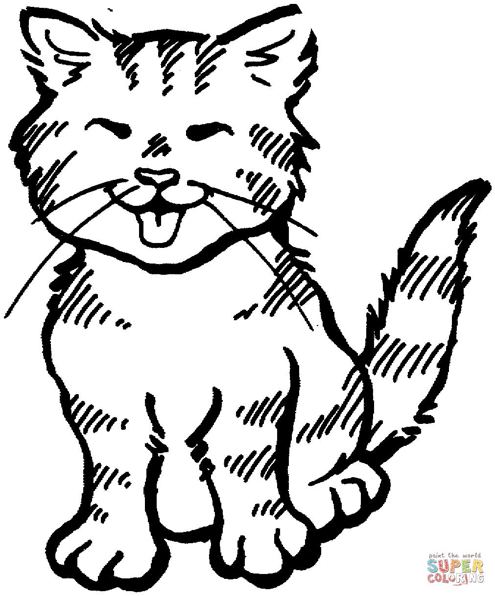 Tranh tô màu chú mèo vui vẻ