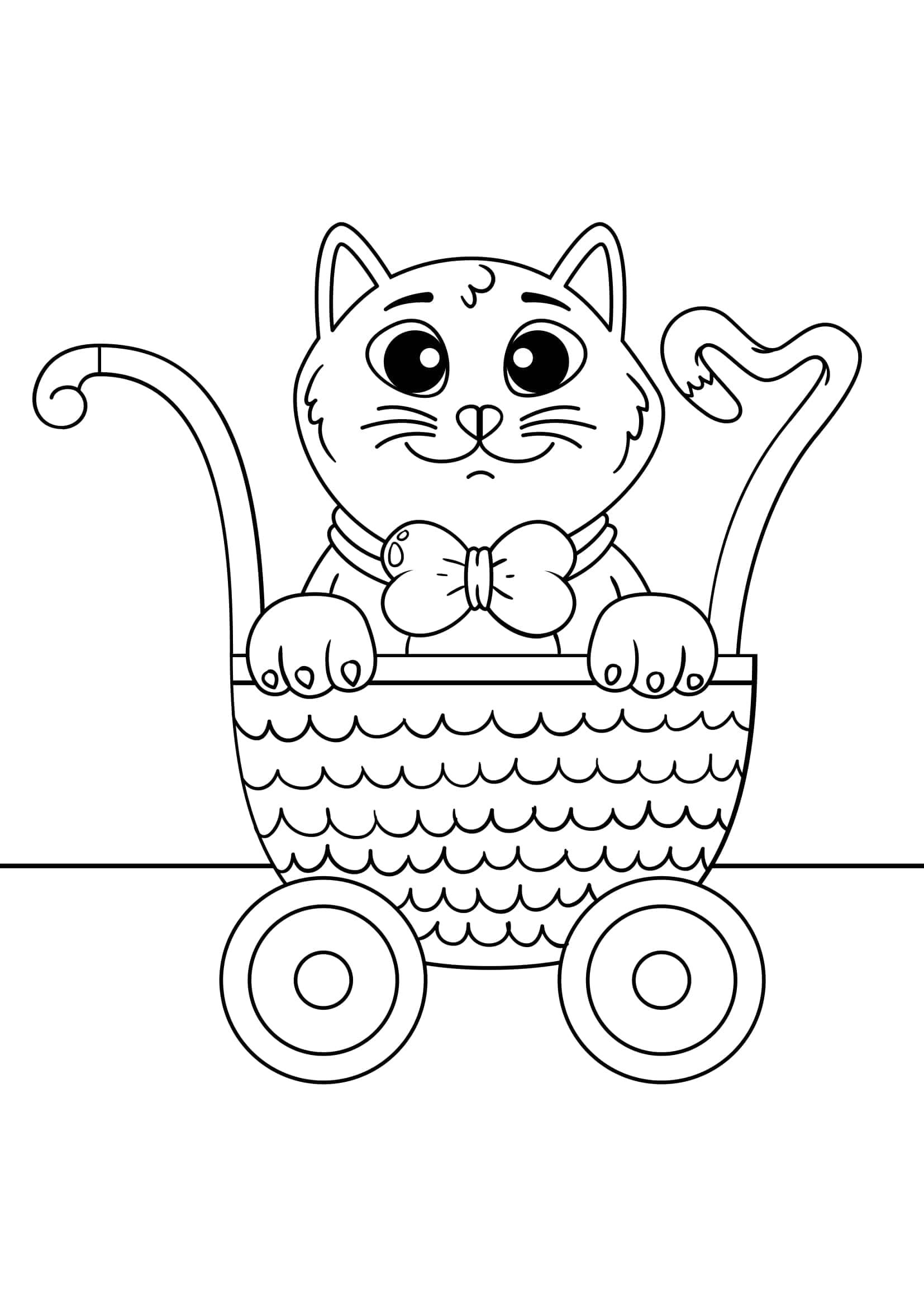 Tranh tô màu con mèo đáng yêu ngồi trong giỏ