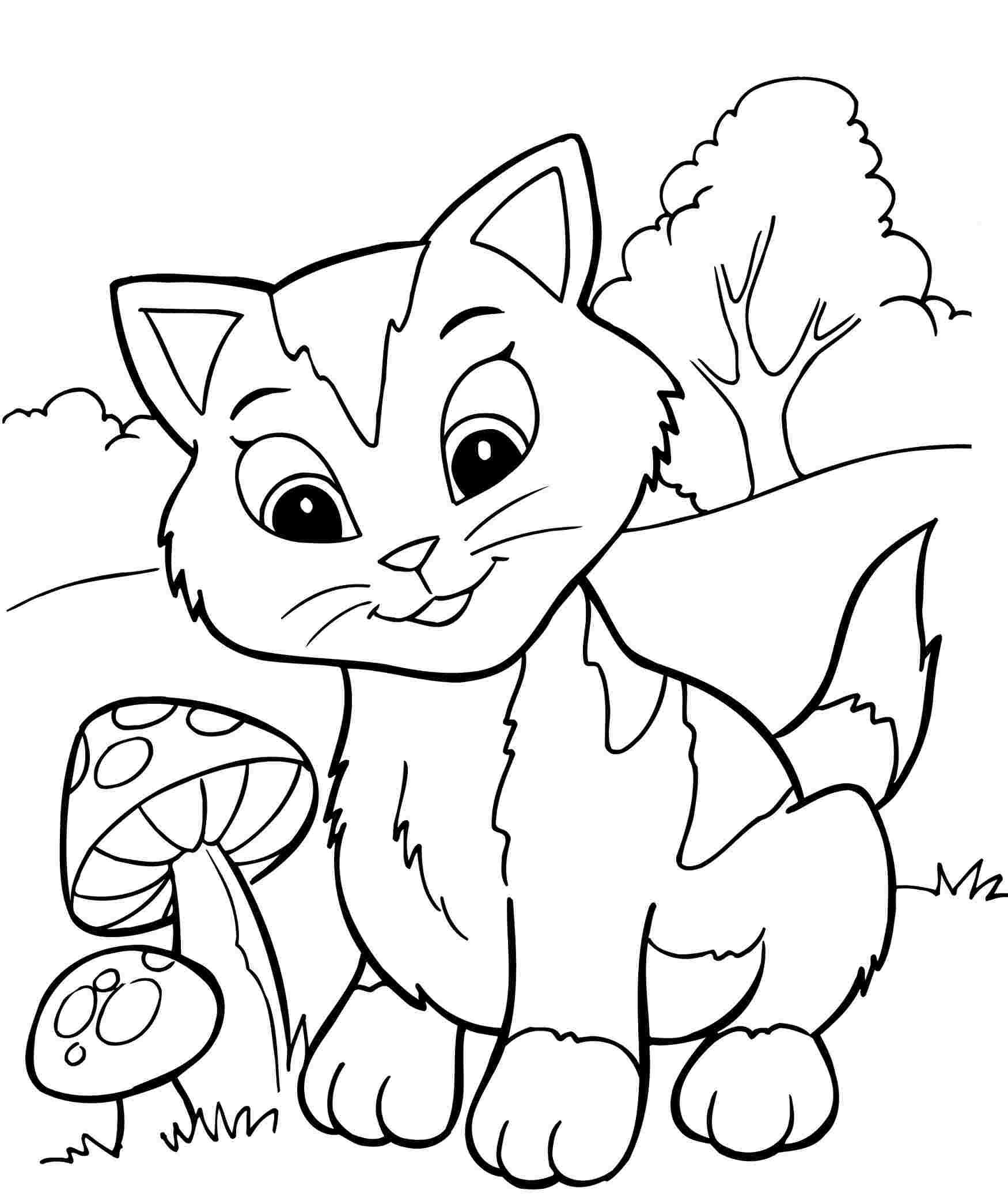Tranh tô màu con mèo và cây nấm