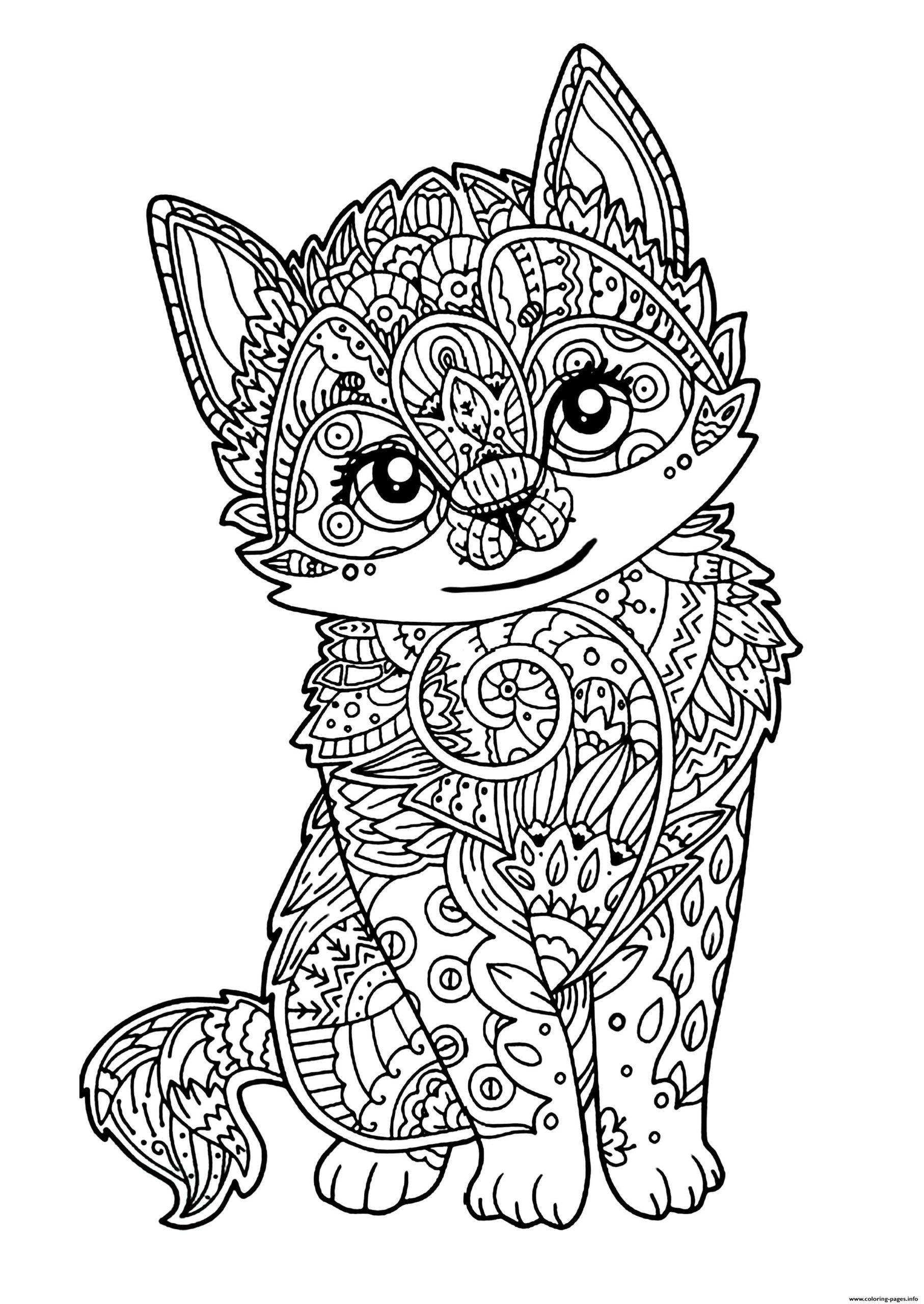 Tranh tô màu con mèo với những hoa văn đẹp mắt