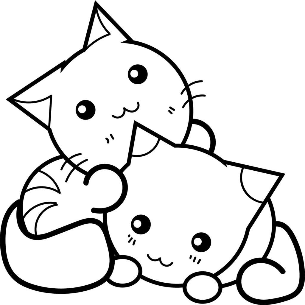 Tranh tô màu hai chú mèo đáng yêu