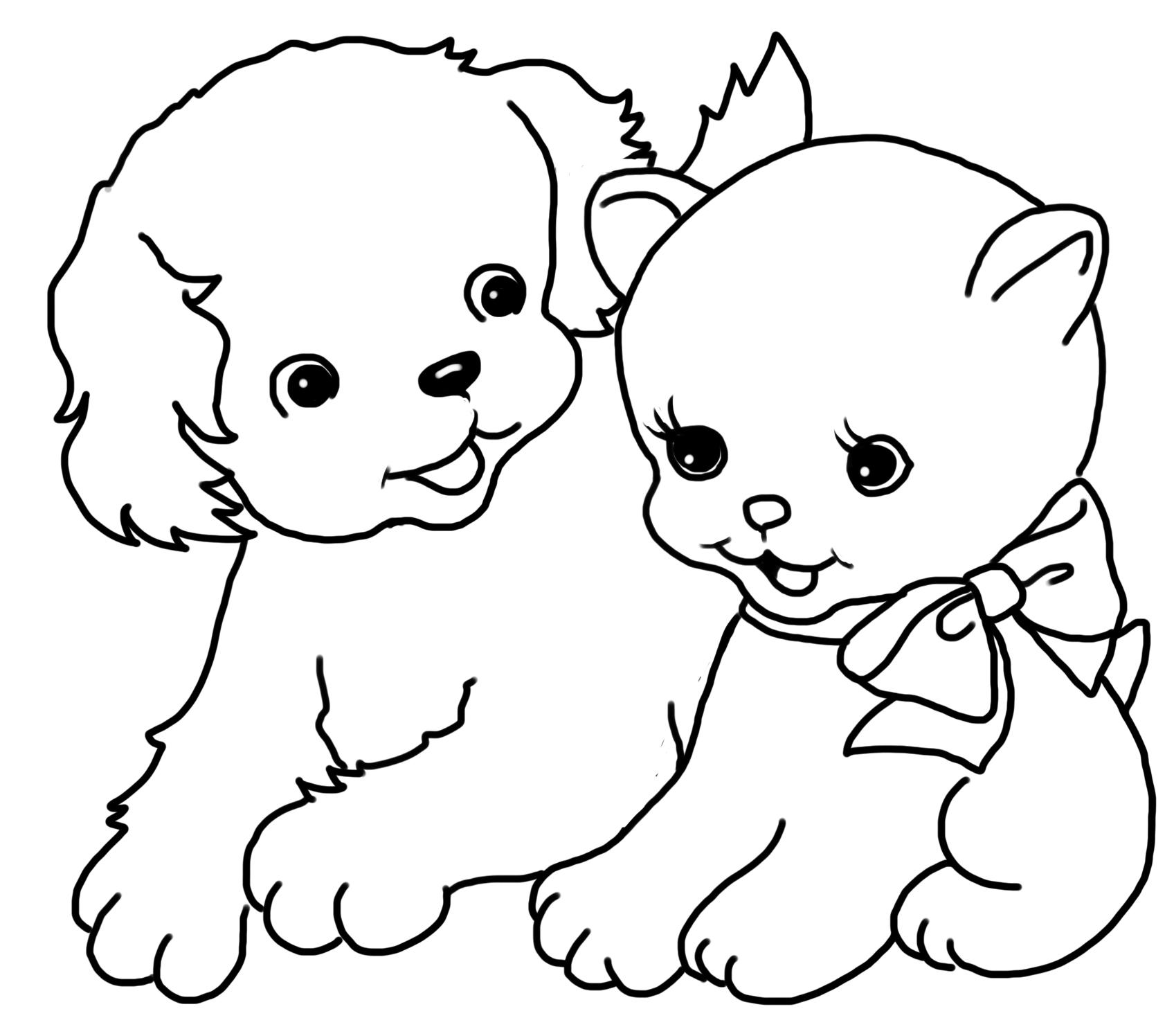 Tranh tô màu mèo và chó cực xinh